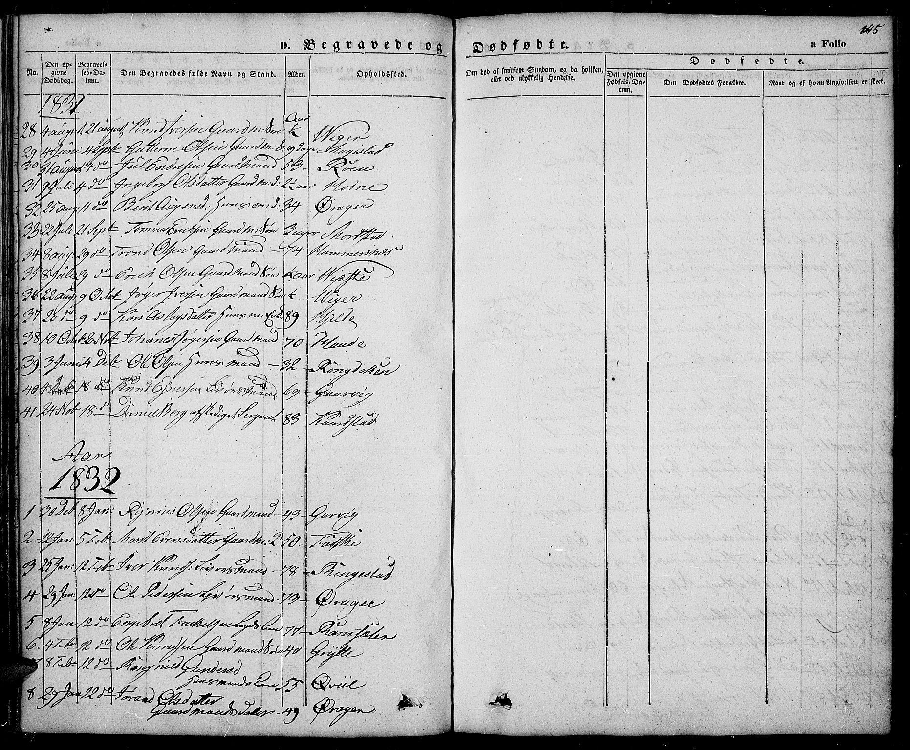 SAH, Slidre prestekontor, Ministerialbok nr. 3, 1831-1843, s. 145