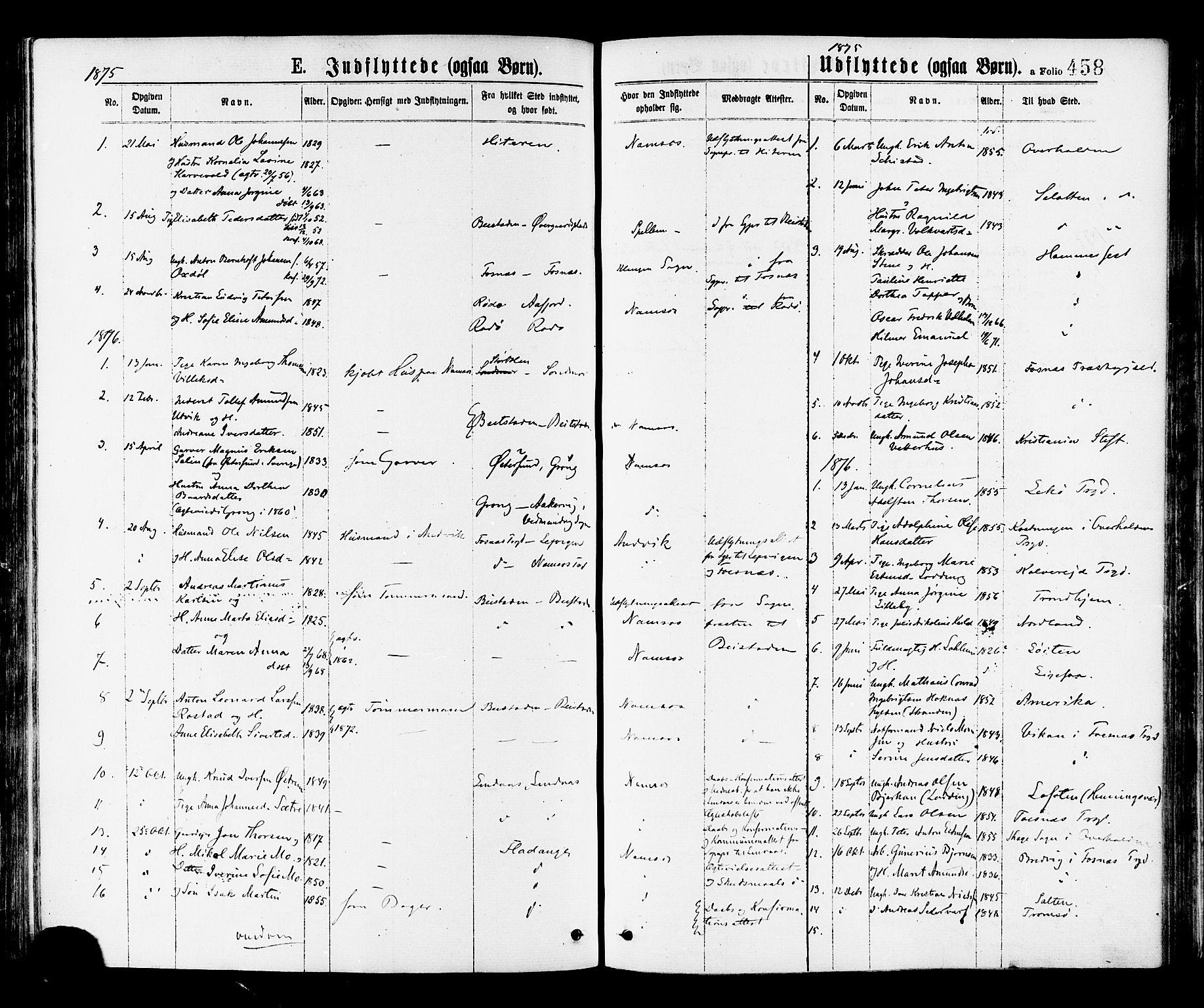 SAT, Ministerialprotokoller, klokkerbøker og fødselsregistre - Nord-Trøndelag, 768/L0572: Ministerialbok nr. 768A07, 1874-1886, s. 458
