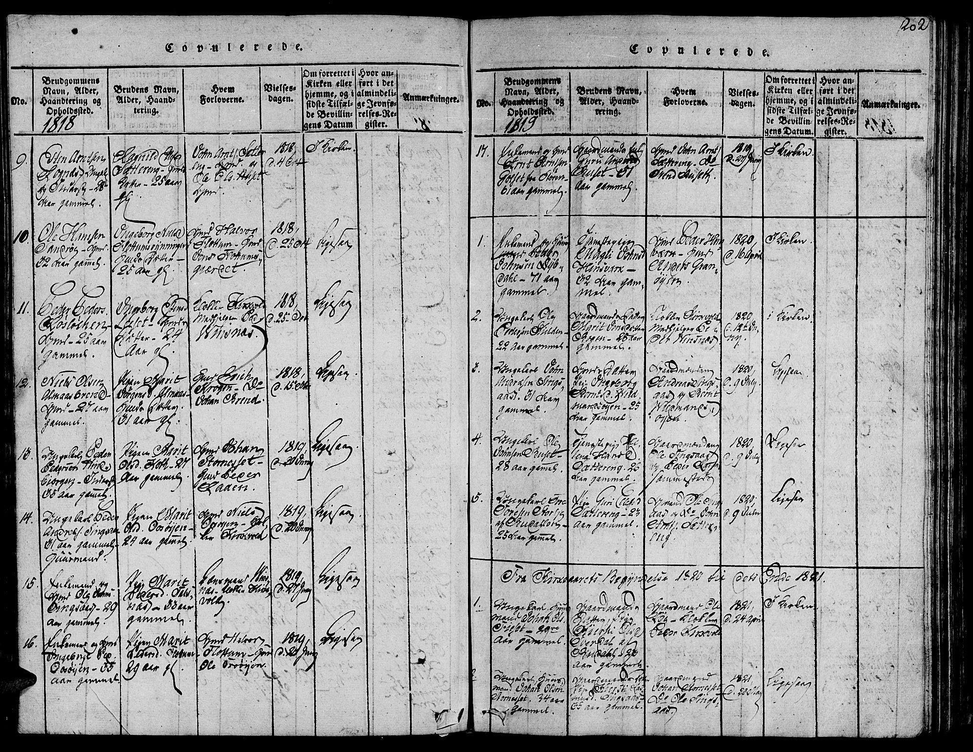 SAT, Ministerialprotokoller, klokkerbøker og fødselsregistre - Sør-Trøndelag, 685/L0955: Ministerialbok nr. 685A03 /2, 1817-1829, s. 202