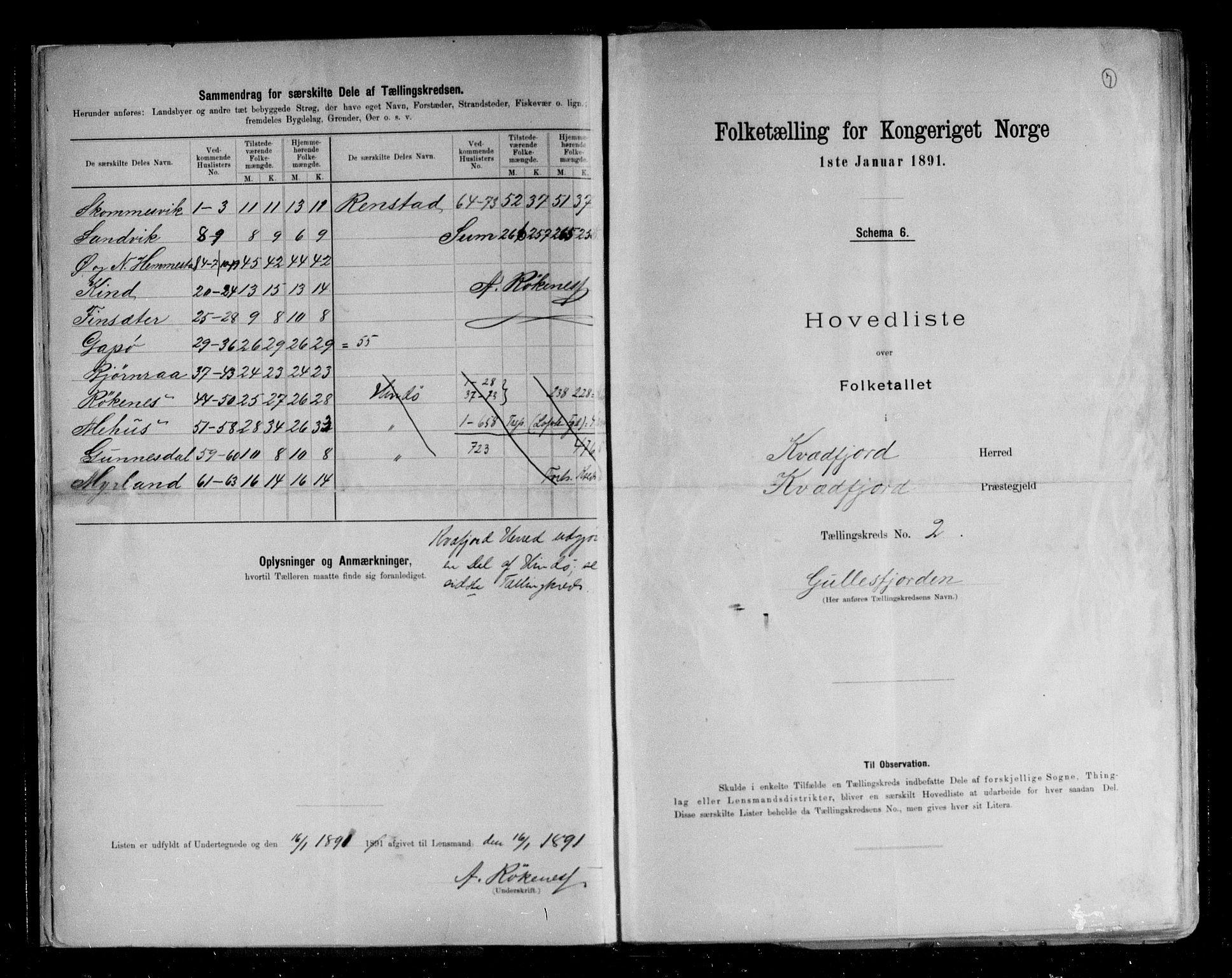 RA, Folketelling 1891 for 1911 Kvæfjord herred, 1891, s. 7