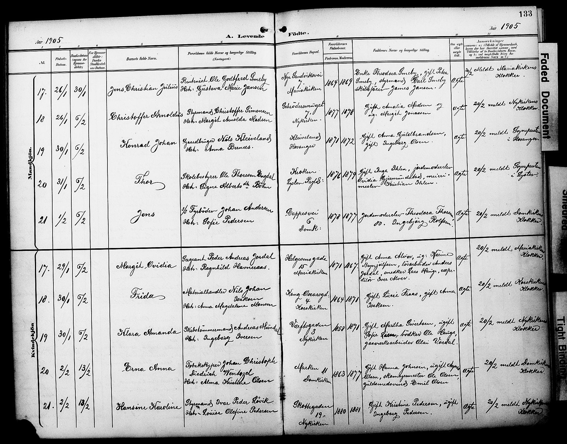 SAB, Fødselsstiftelsens sokneprestembete*, Ministerialbok nr. A 3, 1901-1910, s. 133