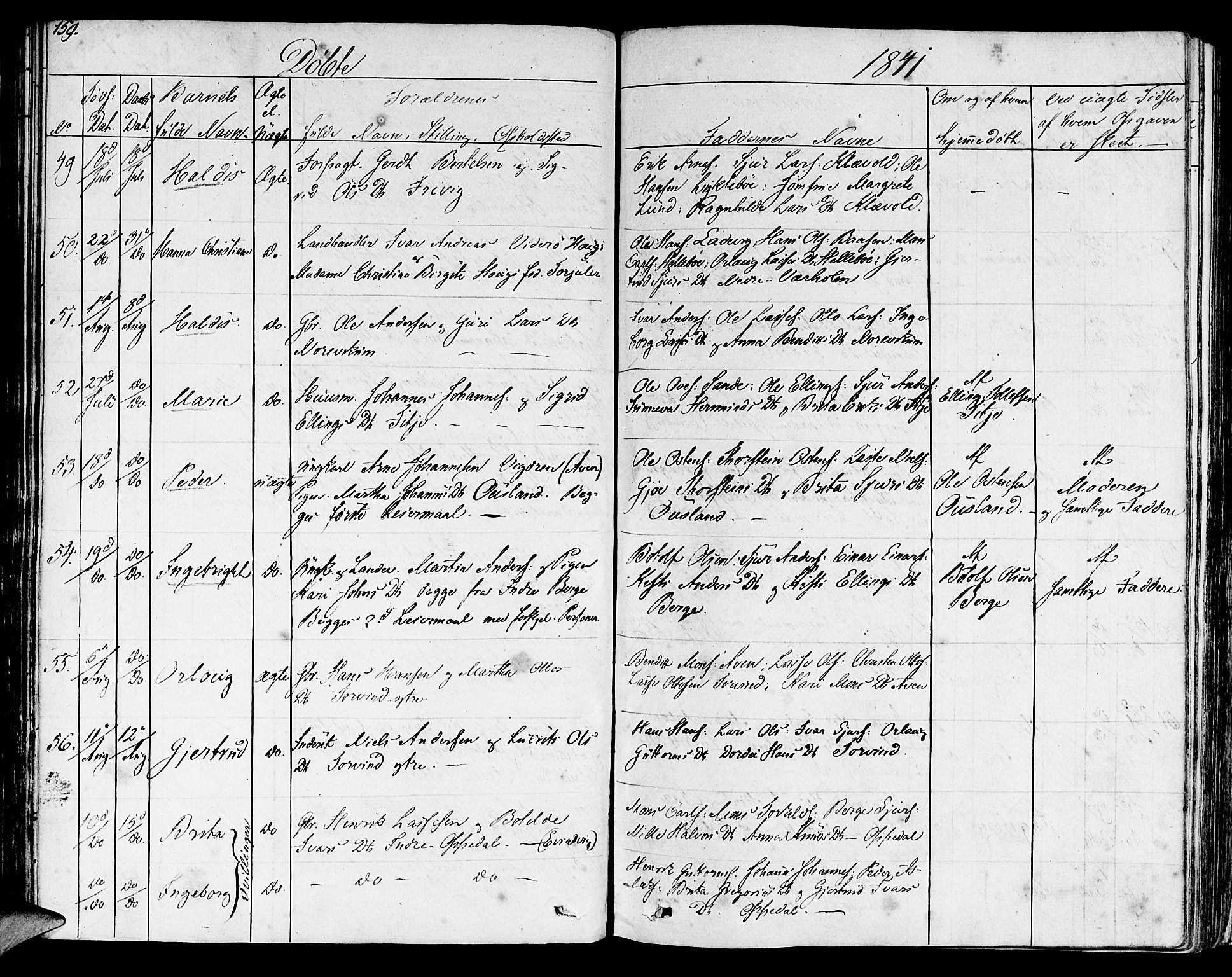 SAB, Lavik Sokneprestembete, Ministerialbok nr. A 2I, 1821-1842, s. 159