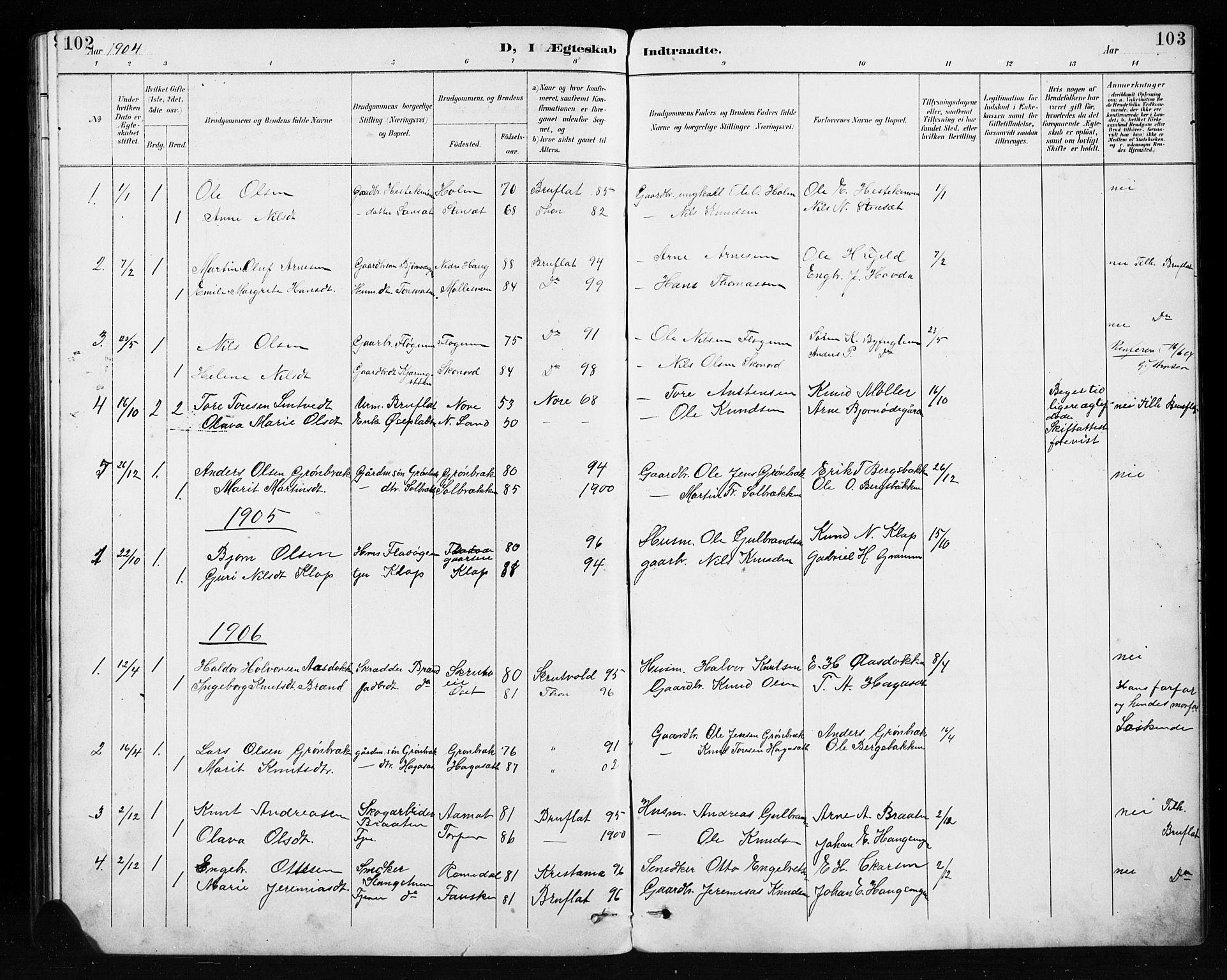 SAH, Etnedal prestekontor, H/Ha/Hab/Habb/L0001: Klokkerbok nr. II 1, 1894-1911, s. 102-103