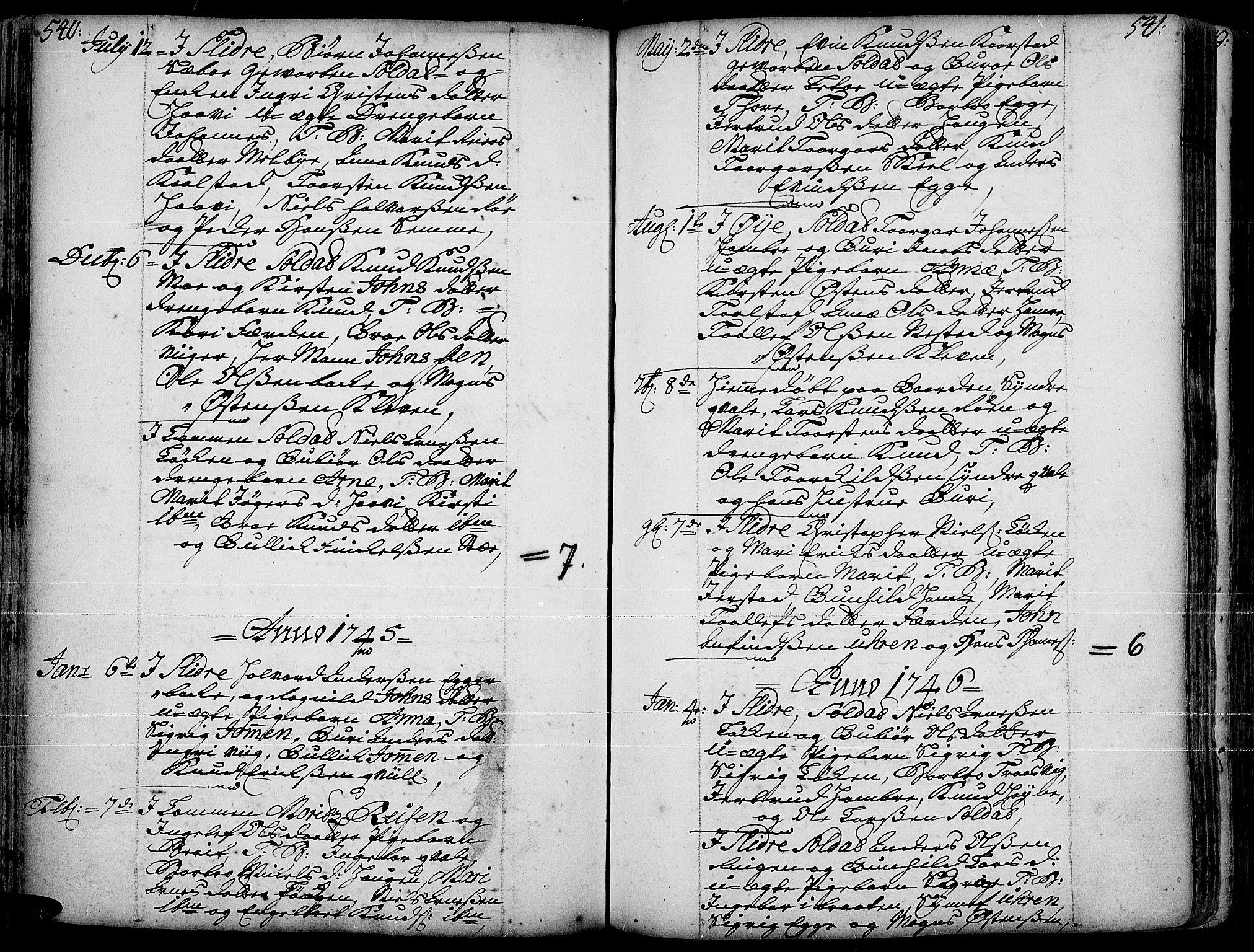 SAH, Slidre prestekontor, Ministerialbok nr. 1, 1724-1814, s. 540-541