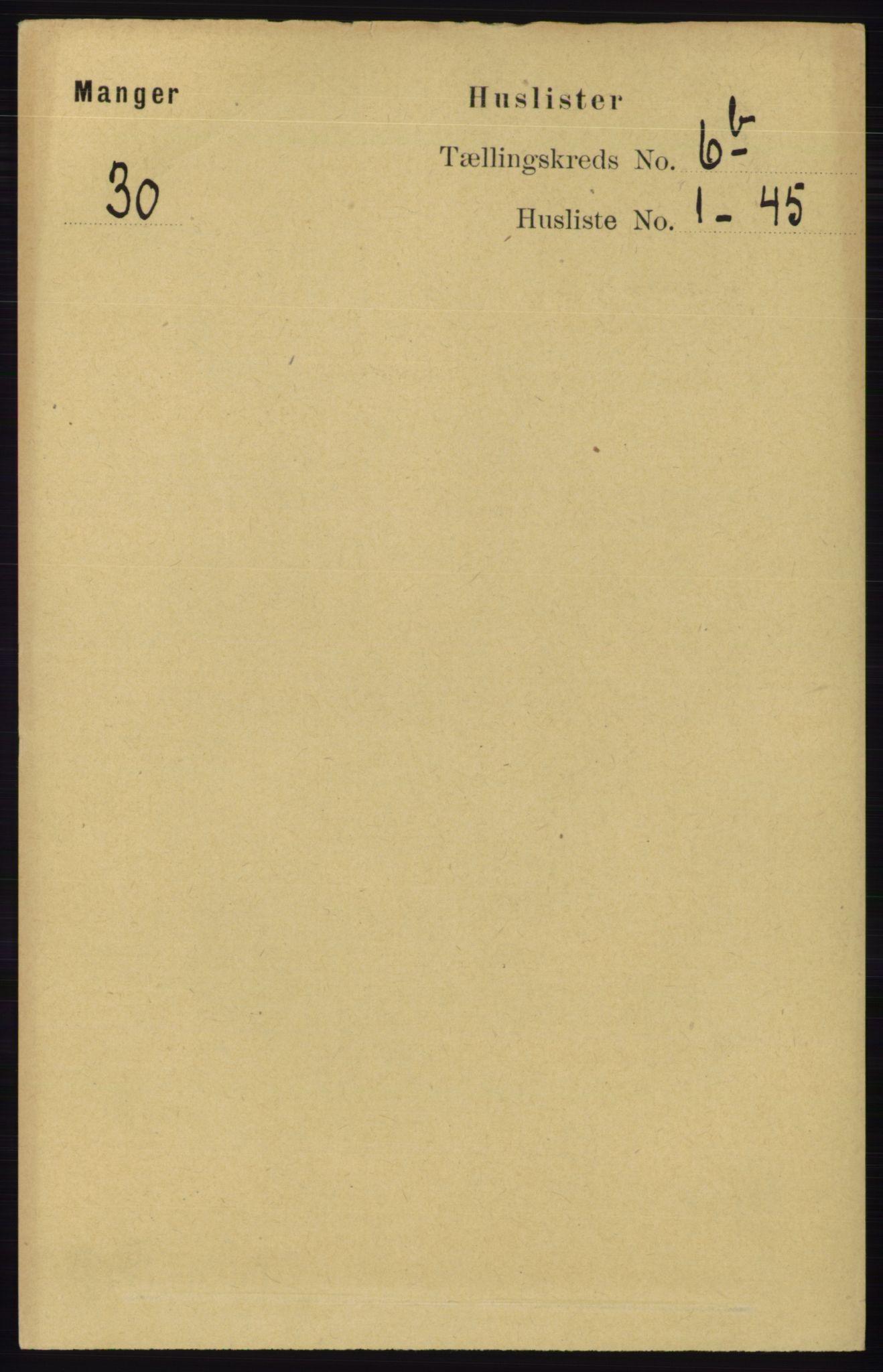 RA, Folketelling 1891 for 1261 Manger herred, 1891, s. 3944