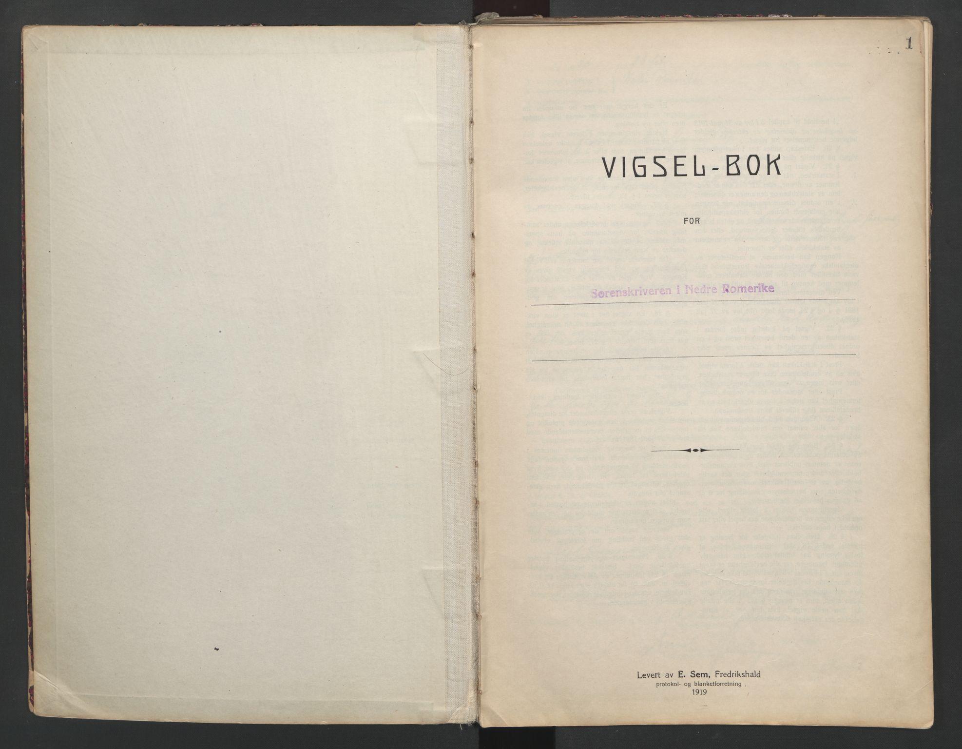SAO, Nedre Romerike sorenskriveri, L/Lb/L0001: Vigselsbok - borgerlige vielser, 1920-1935, s. 1