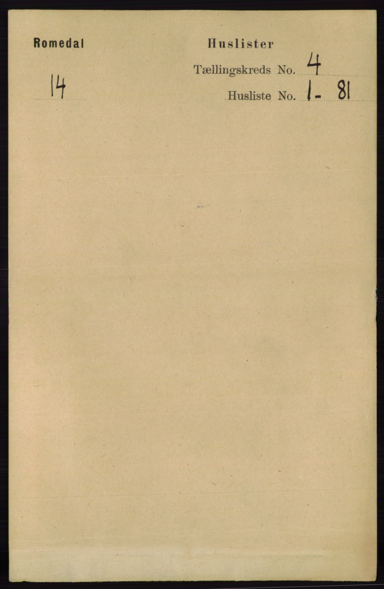 RA, Folketelling 1891 for 0416 Romedal herred, 1891, s. 1884