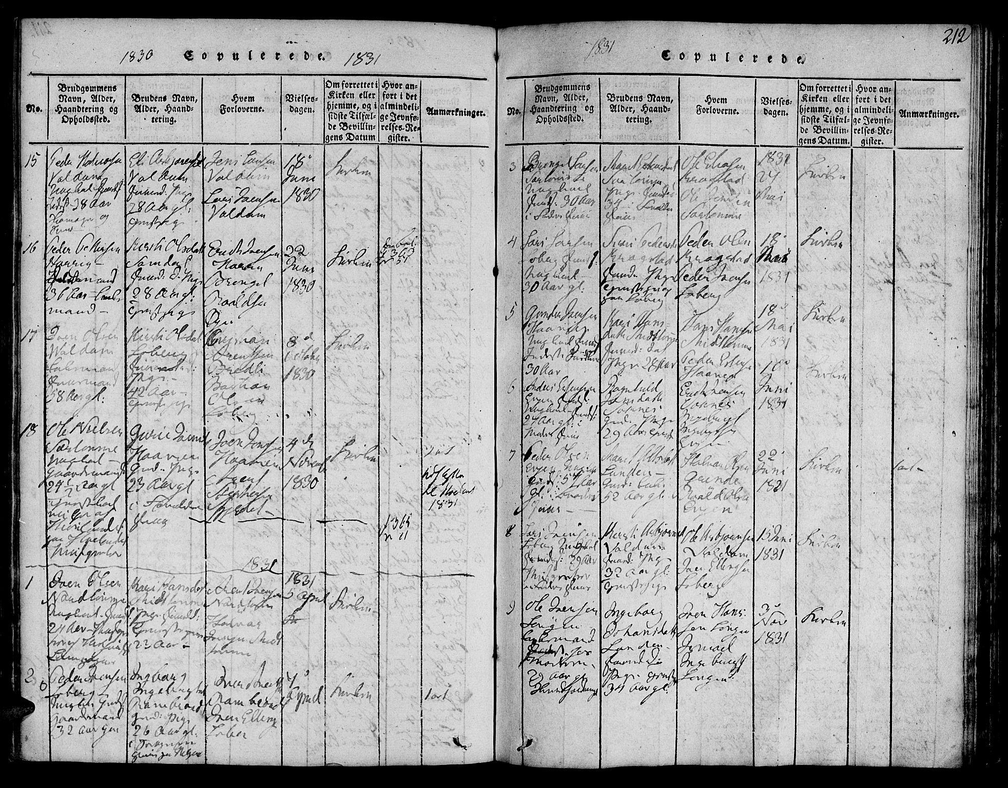 SAT, Ministerialprotokoller, klokkerbøker og fødselsregistre - Sør-Trøndelag, 692/L1102: Ministerialbok nr. 692A02, 1816-1842, s. 212