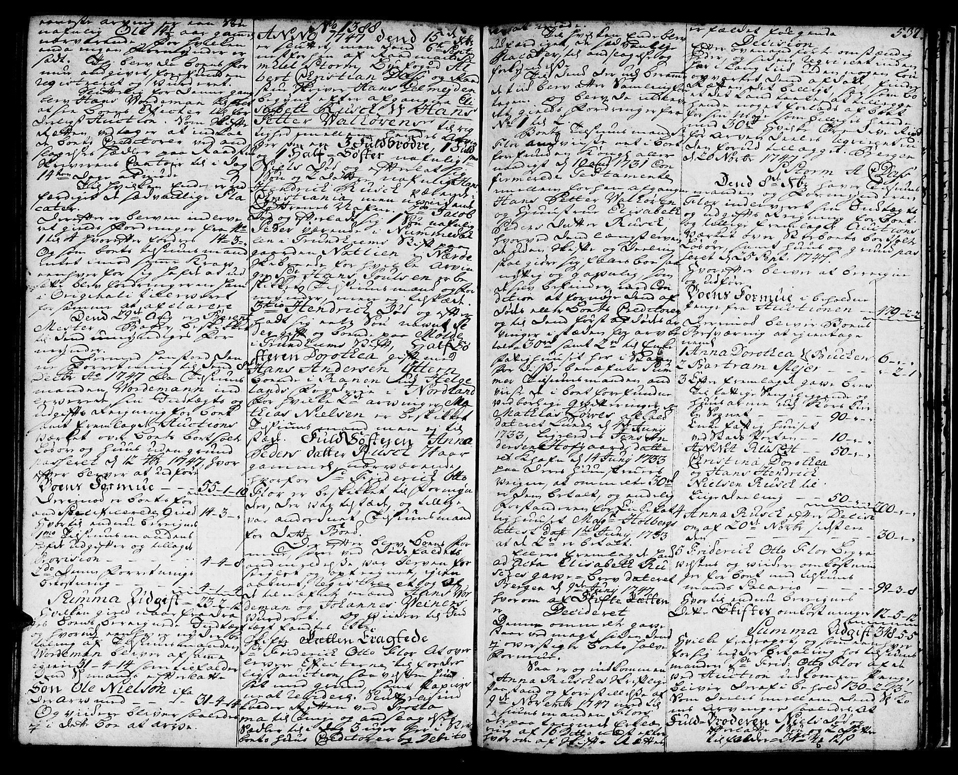 SAB, Byfogd og Byskriver i Bergen, 06/06C/L0003b: Skifteprotokoller, 1737-1748, s. 531b-532a