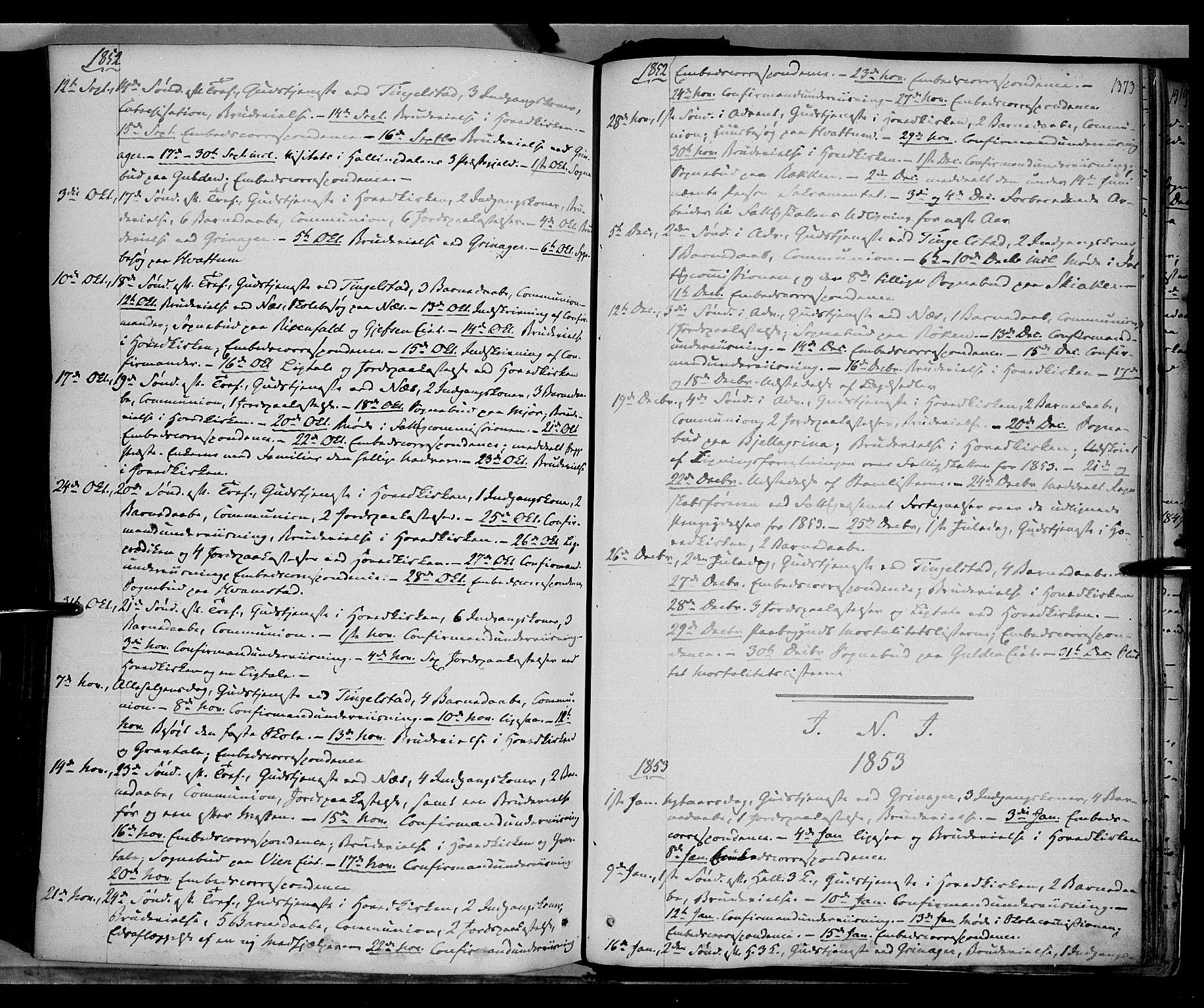 SAH, Gran prestekontor, Ministerialbok nr. 11, 1842-1856, s. 1372-1373
