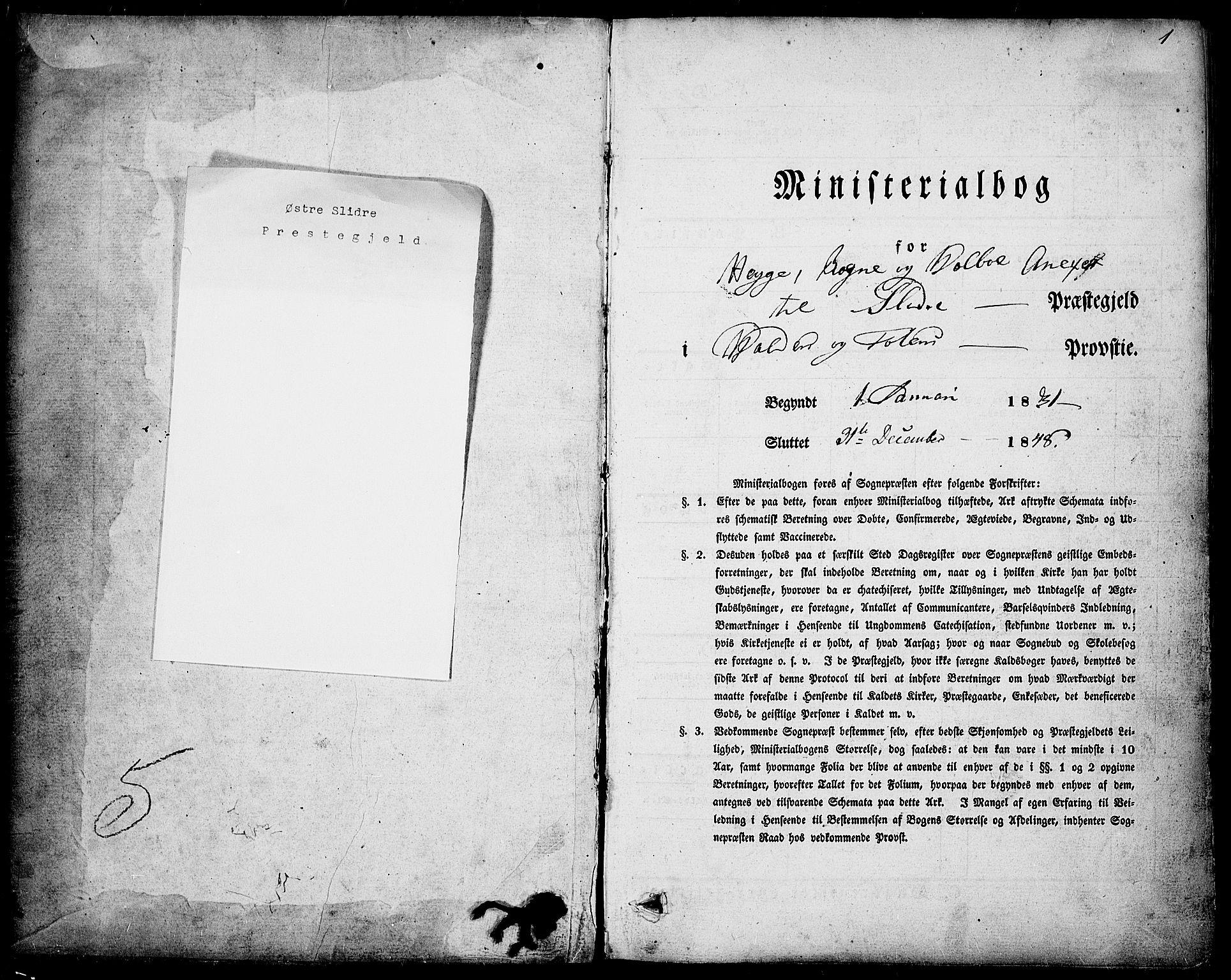 SAH, Slidre prestekontor, Ministerialbok nr. 4, 1831-1848, s. 1
