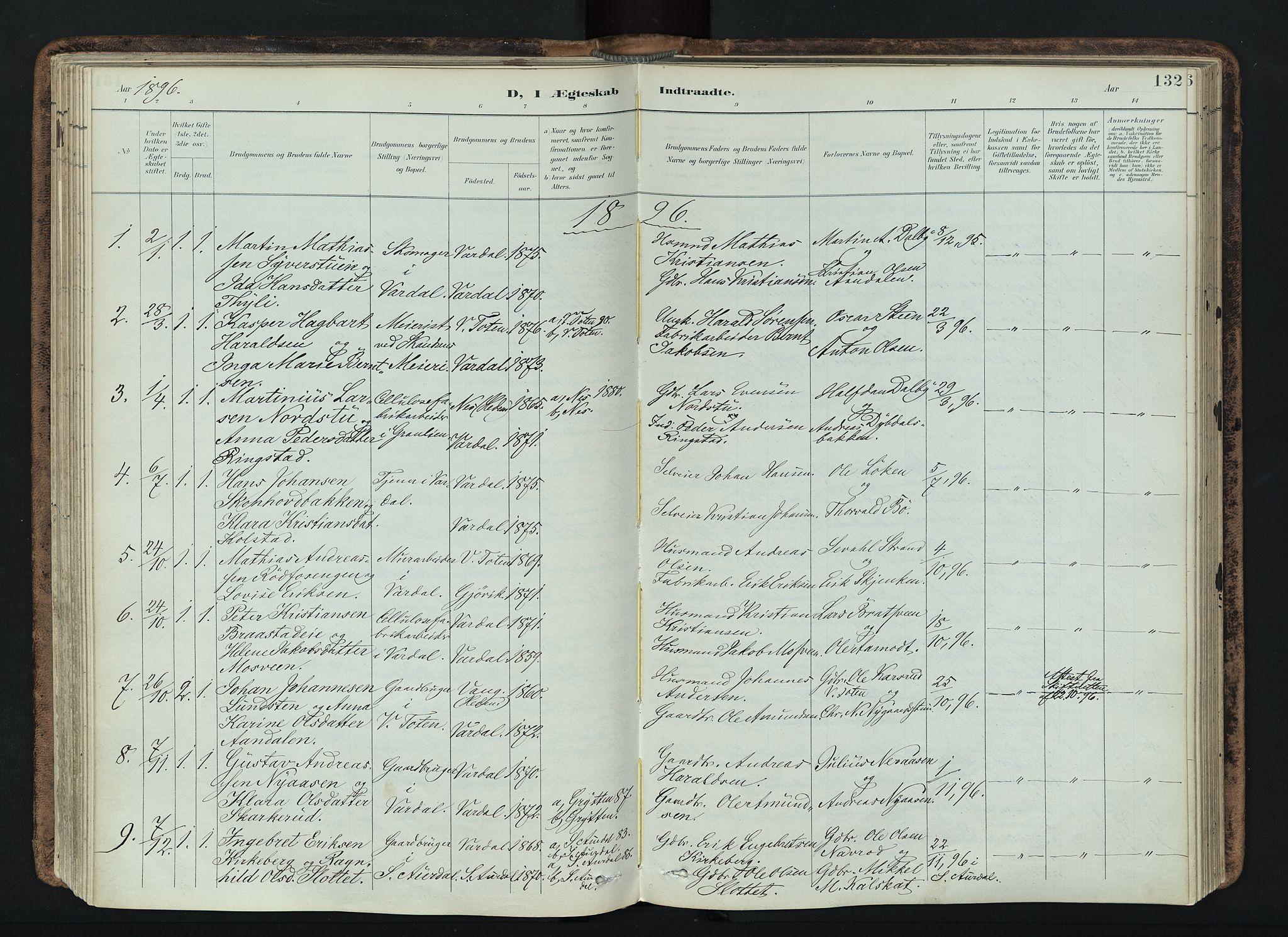 SAH, Vardal prestekontor, H/Ha/Haa/L0019: Ministerialbok nr. 19, 1893-1907, s. 132