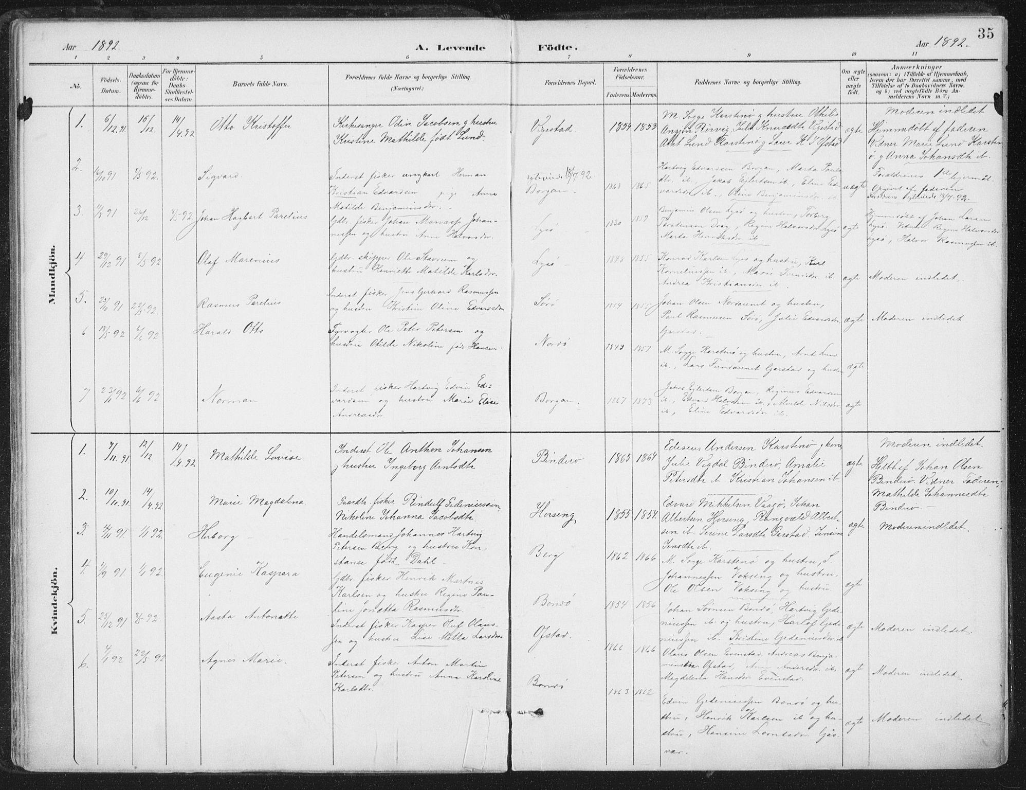 SAT, Ministerialprotokoller, klokkerbøker og fødselsregistre - Nord-Trøndelag, 786/L0687: Ministerialbok nr. 786A03, 1888-1898, s. 35