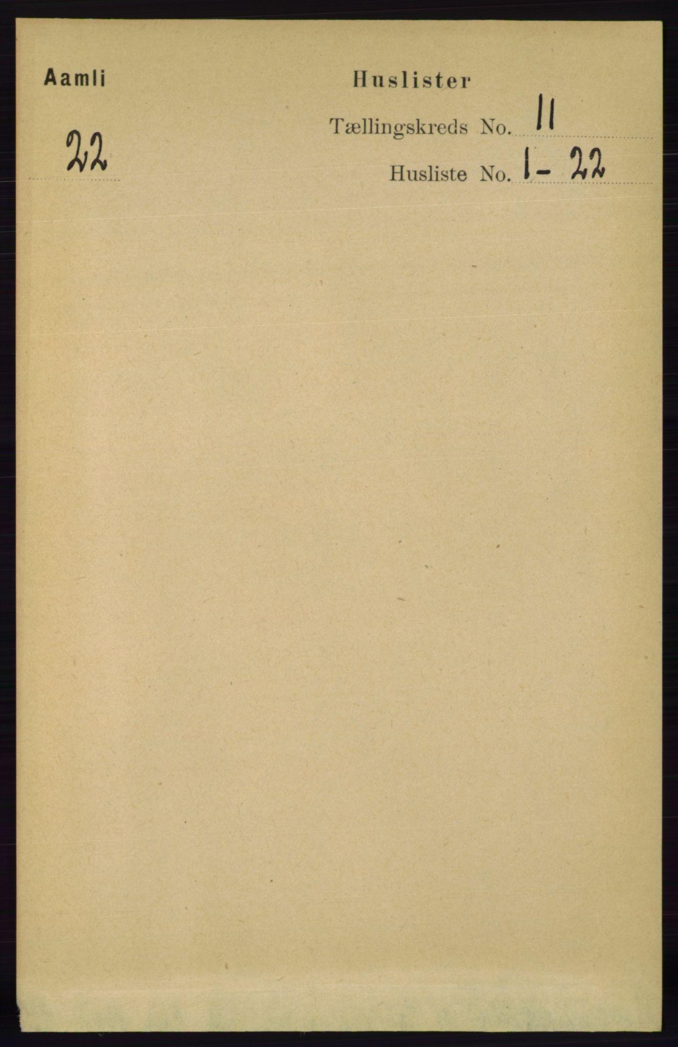 RA, Folketelling 1891 for 0929 Åmli herred, 1891, s. 1822