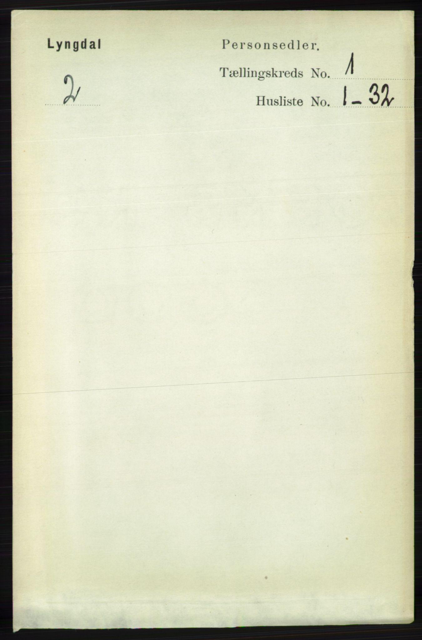 RA, Folketelling 1891 for 1032 Lyngdal herred, 1891, s. 117