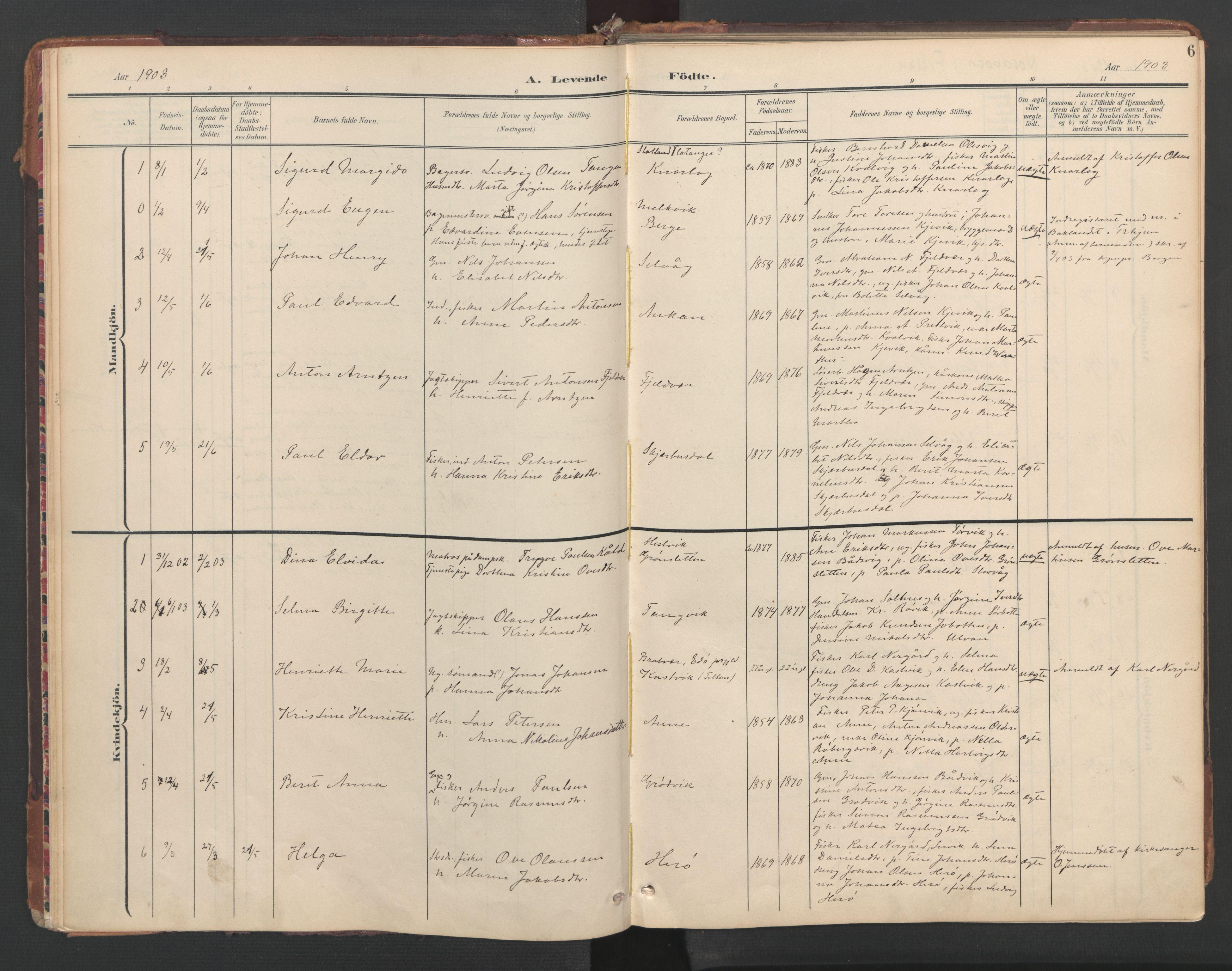 SAT, Ministerialprotokoller, klokkerbøker og fødselsregistre - Sør-Trøndelag, 638/L0568: Ministerialbok nr. 638A01, 1901-1916, s. 6