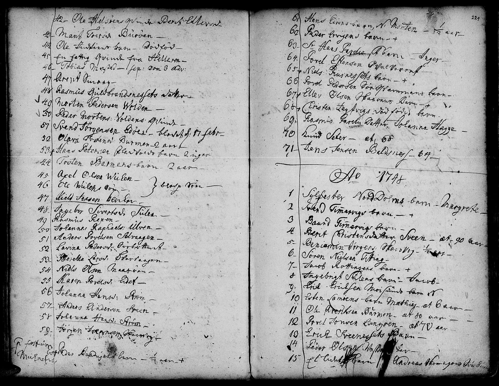 SAT, Ministerialprotokoller, klokkerbøker og fødselsregistre - Sør-Trøndelag, 634/L0525: Ministerialbok nr. 634A01, 1736-1775, s. 221
