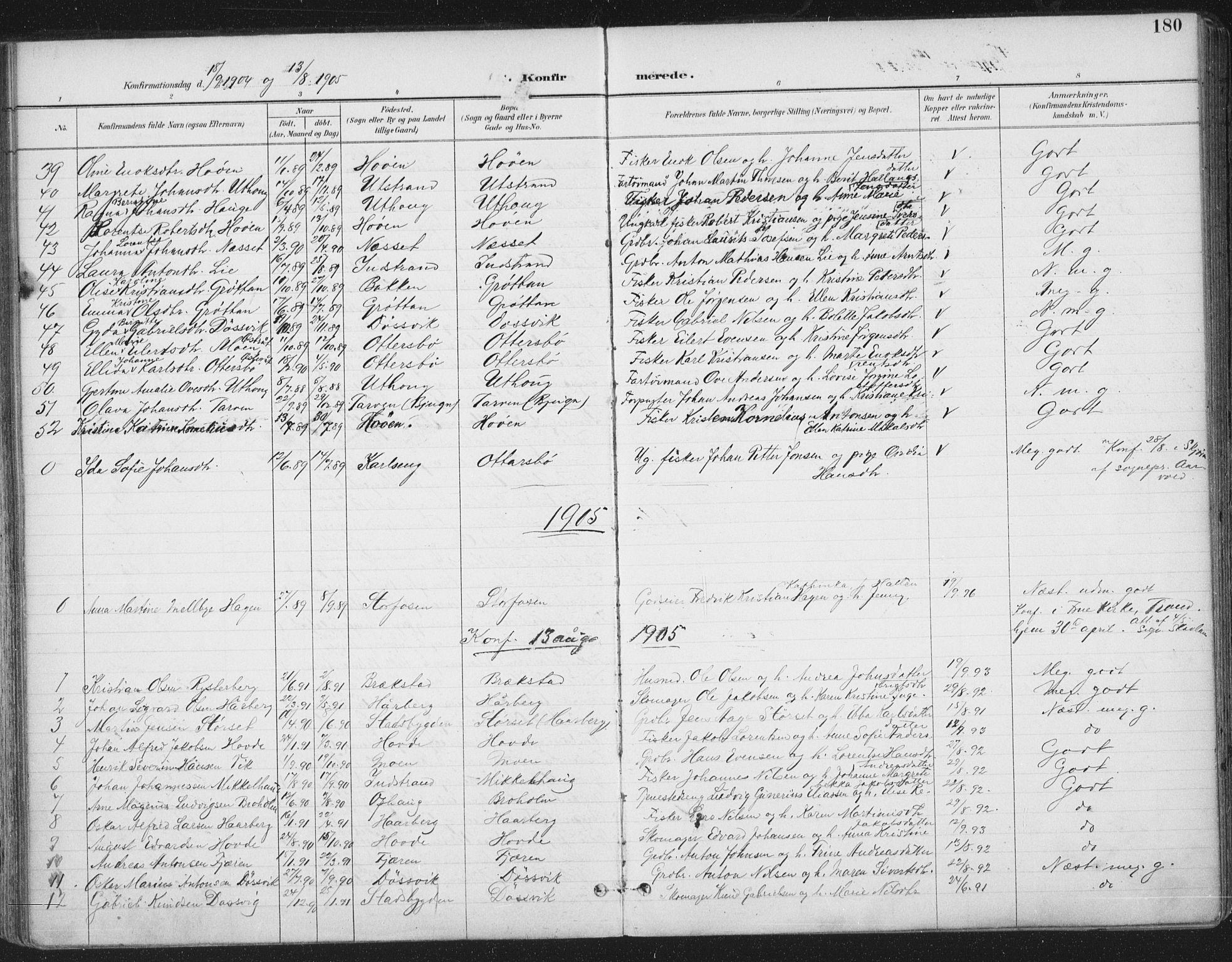 SAT, Ministerialprotokoller, klokkerbøker og fødselsregistre - Sør-Trøndelag, 659/L0743: Ministerialbok nr. 659A13, 1893-1910, s. 180
