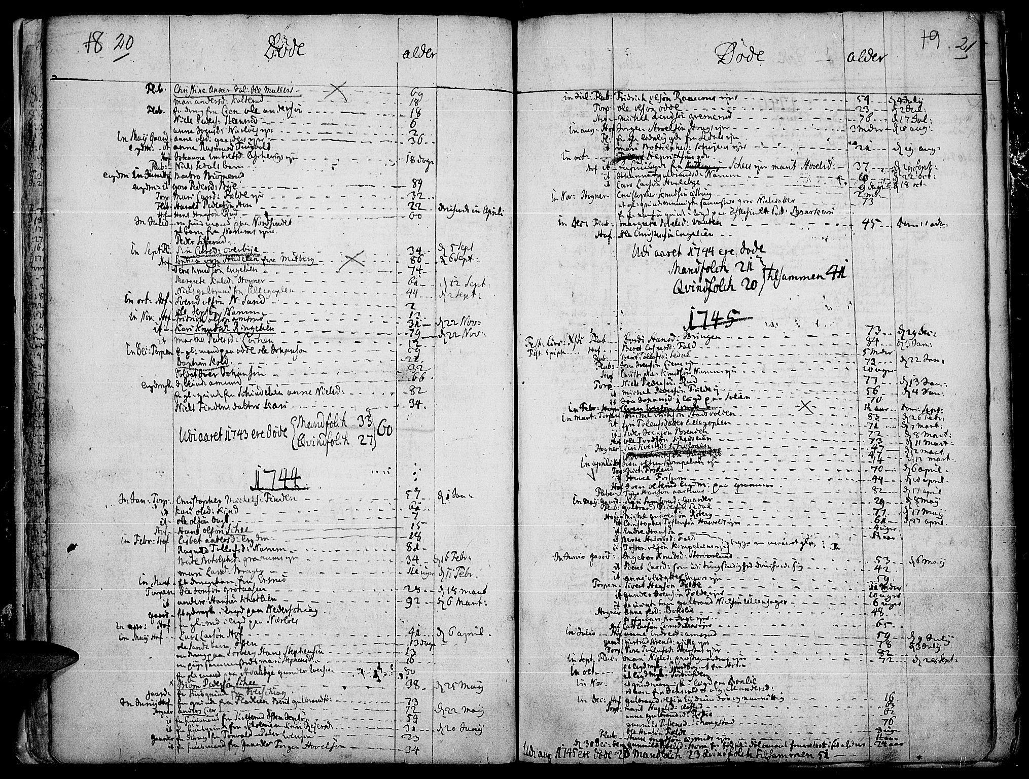 SAH, Land prestekontor, Ministerialbok nr. 4, 1733-1764, s. 20-21