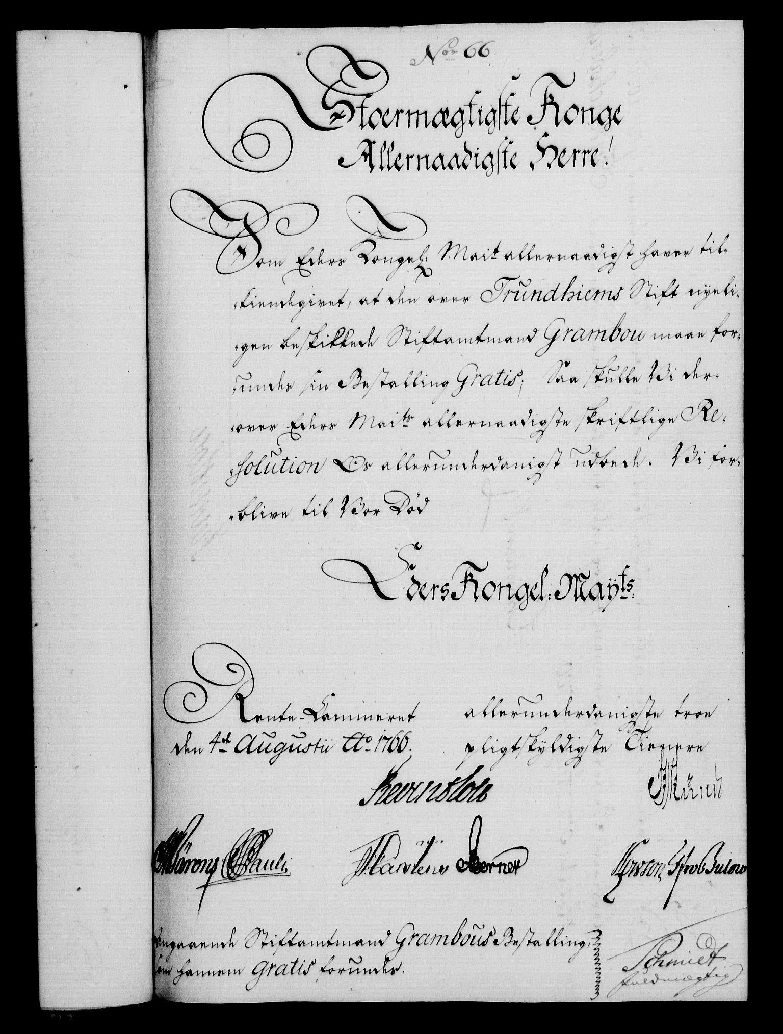 RA, Rentekammeret, Kammerkanselliet, G/Gf/Gfa/L0048: Norsk relasjons- og resolusjonsprotokoll (merket RK 52.48), 1766, s. 303