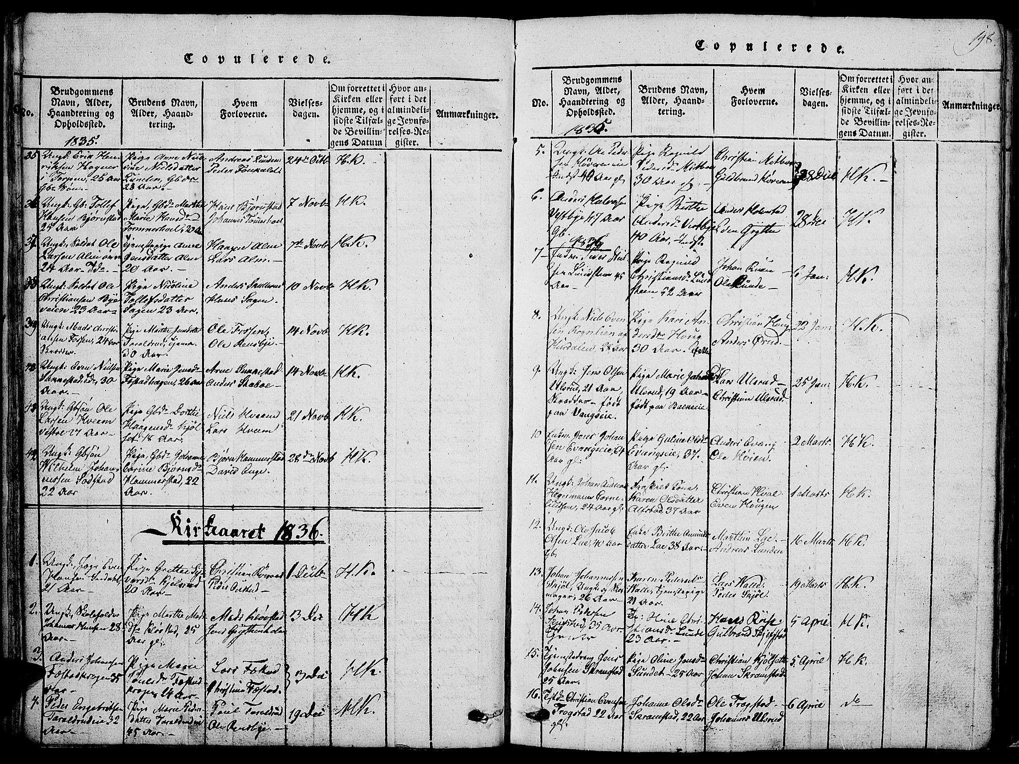 SAH, Østre Toten prestekontor, Klokkerbok nr. 1, 1827-1839, s. 198