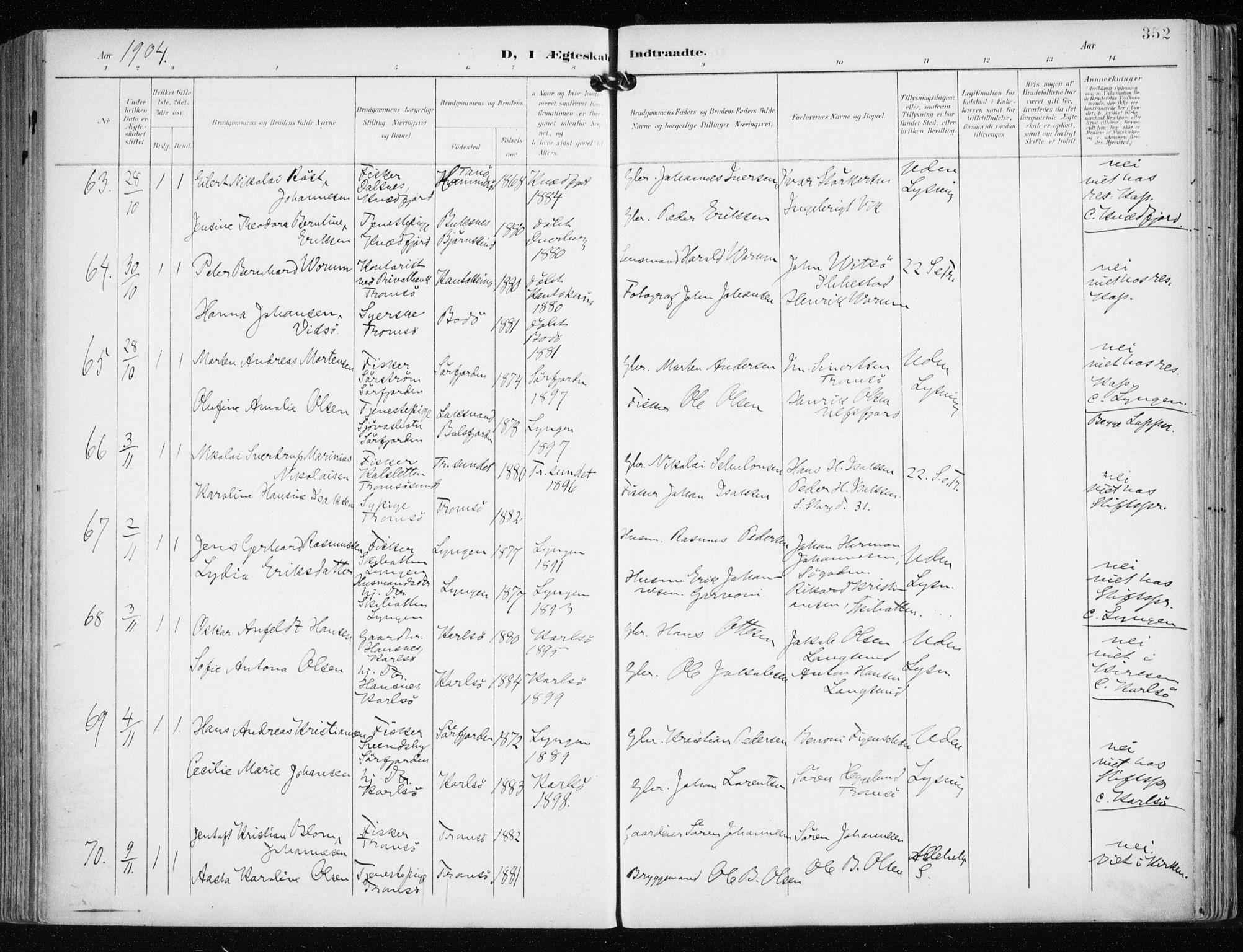 SATØ, Tromsø sokneprestkontor/stiftsprosti/domprosti, G/Ga/L0016kirke: Ministerialbok nr. 16, 1899-1906, s. 352