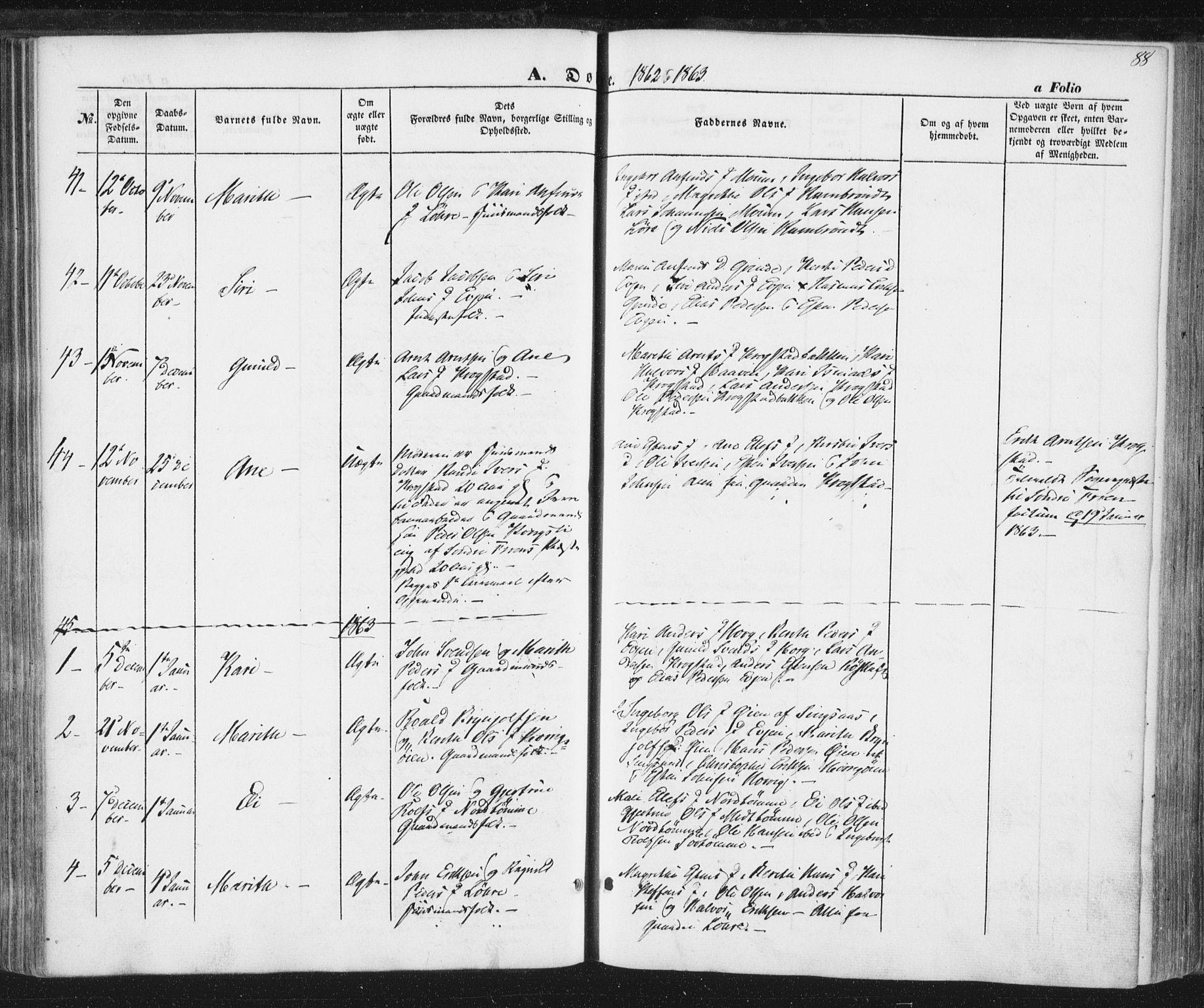 SAT, Ministerialprotokoller, klokkerbøker og fødselsregistre - Sør-Trøndelag, 692/L1103: Ministerialbok nr. 692A03, 1849-1870, s. 88