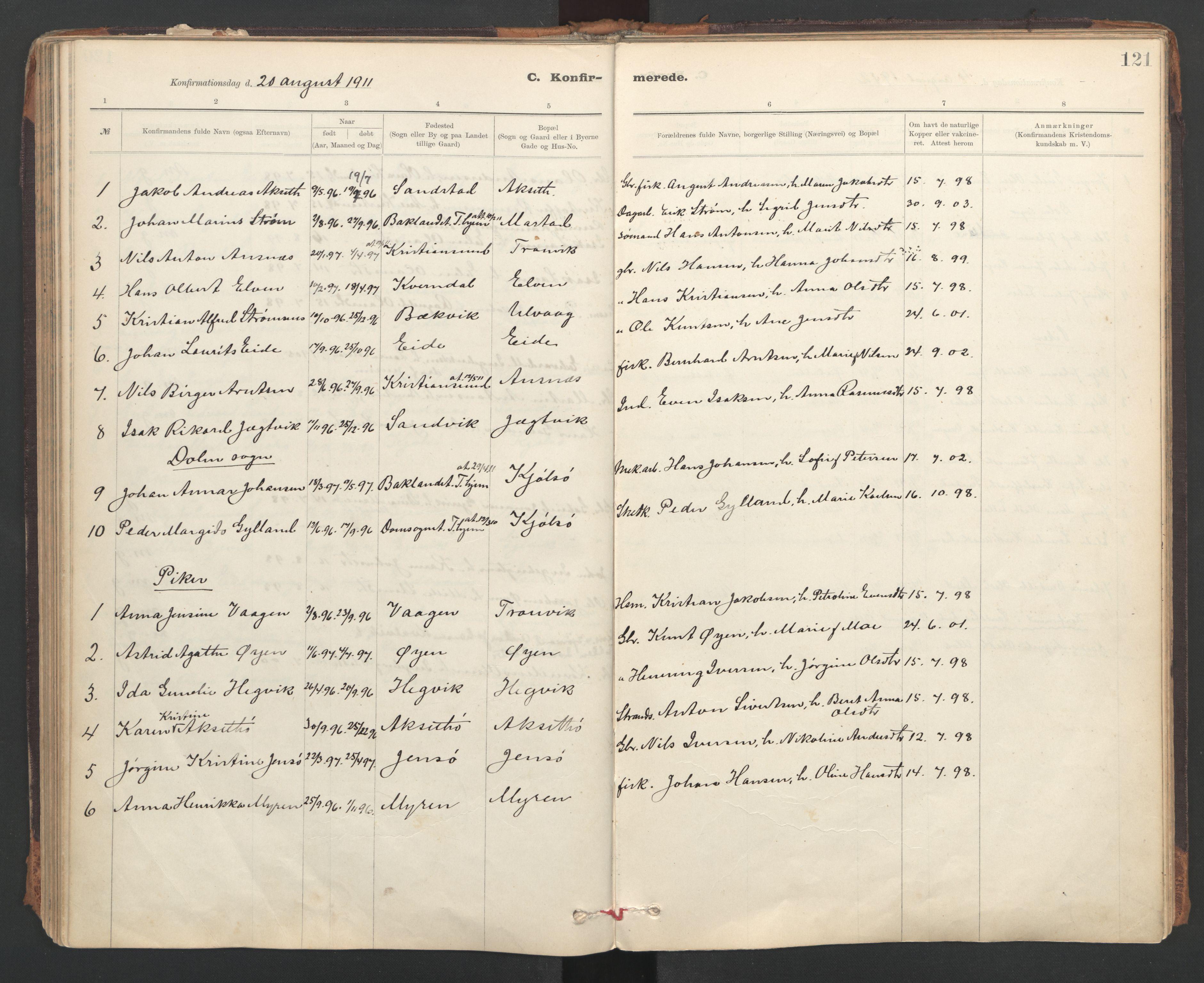 SAT, Ministerialprotokoller, klokkerbøker og fødselsregistre - Sør-Trøndelag, 637/L0559: Ministerialbok nr. 637A02, 1899-1923, s. 121