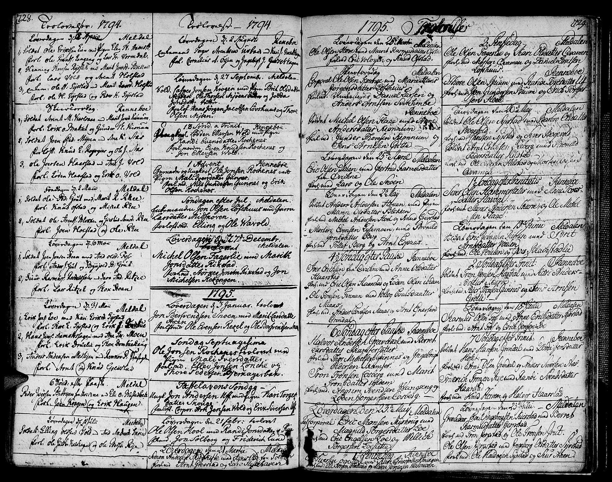SAT, Ministerialprotokoller, klokkerbøker og fødselsregistre - Sør-Trøndelag, 672/L0852: Ministerialbok nr. 672A05, 1776-1815, s. 728-729