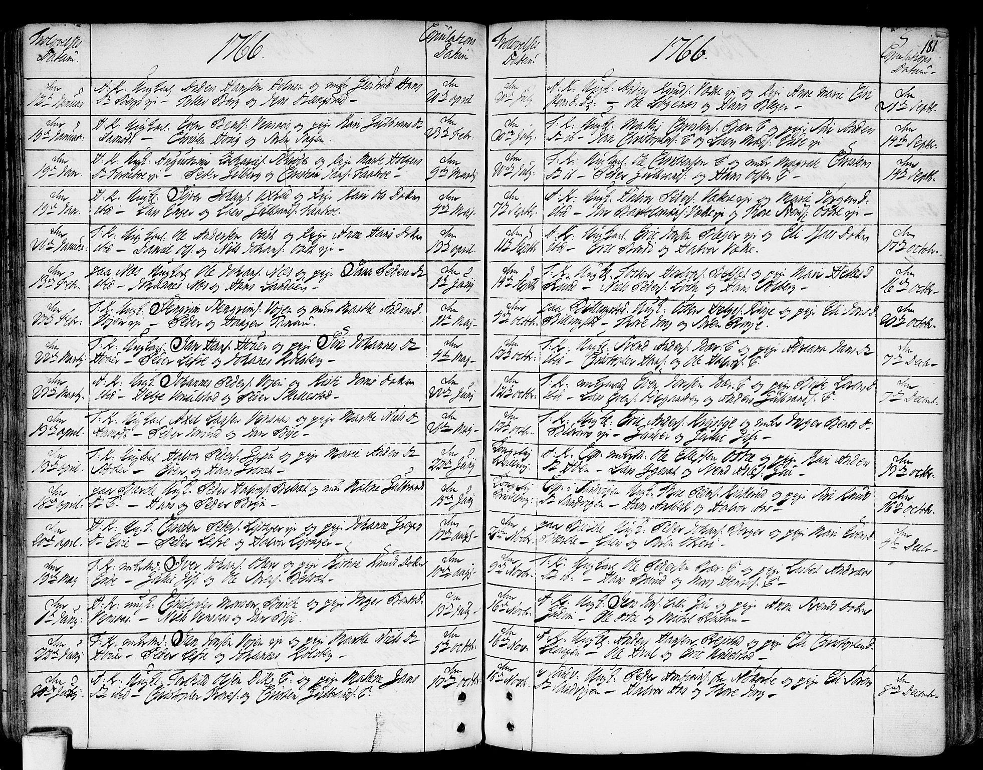 SAO, Asker prestekontor Kirkebøker, F/Fa/L0002: Ministerialbok nr. I 2, 1733-1766, s. 181
