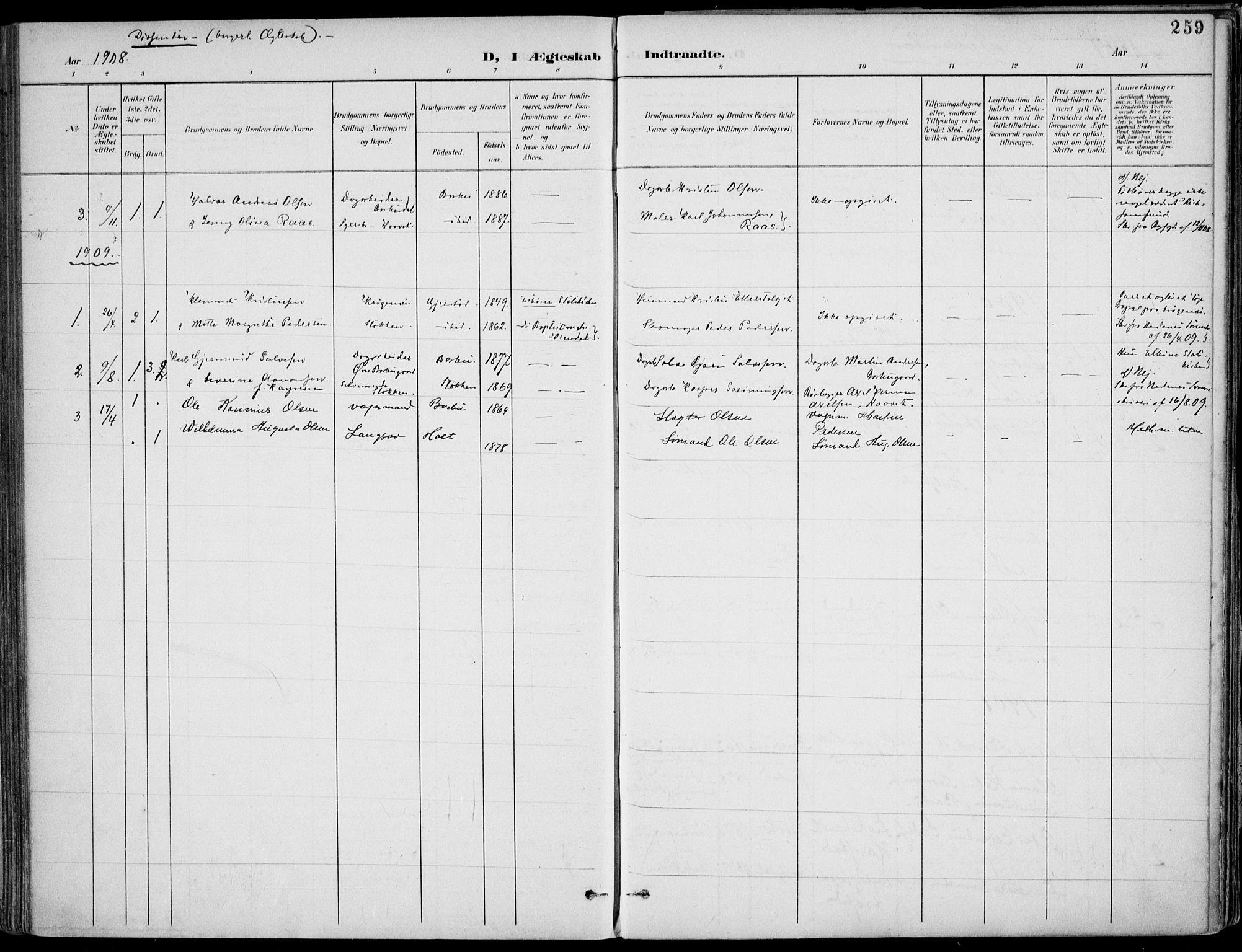 SAK, Barbu sokneprestkontor, F/Fa/L0005: Ministerialbok nr. A 5, 1899-1909, s. 259