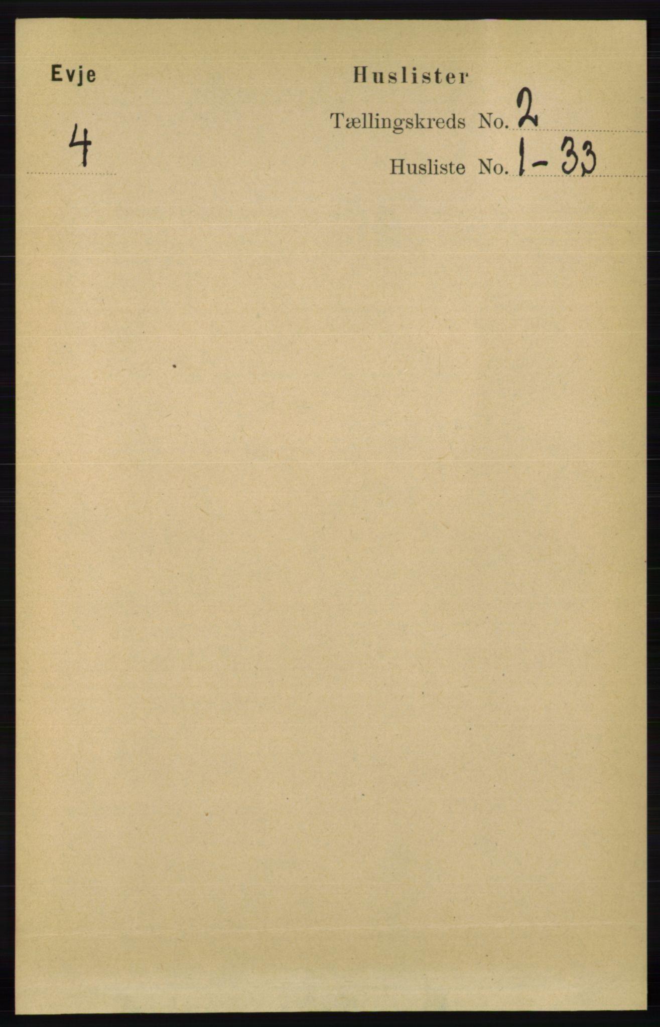 RA, Folketelling 1891 for 0937 Evje herred, 1891, s. 334