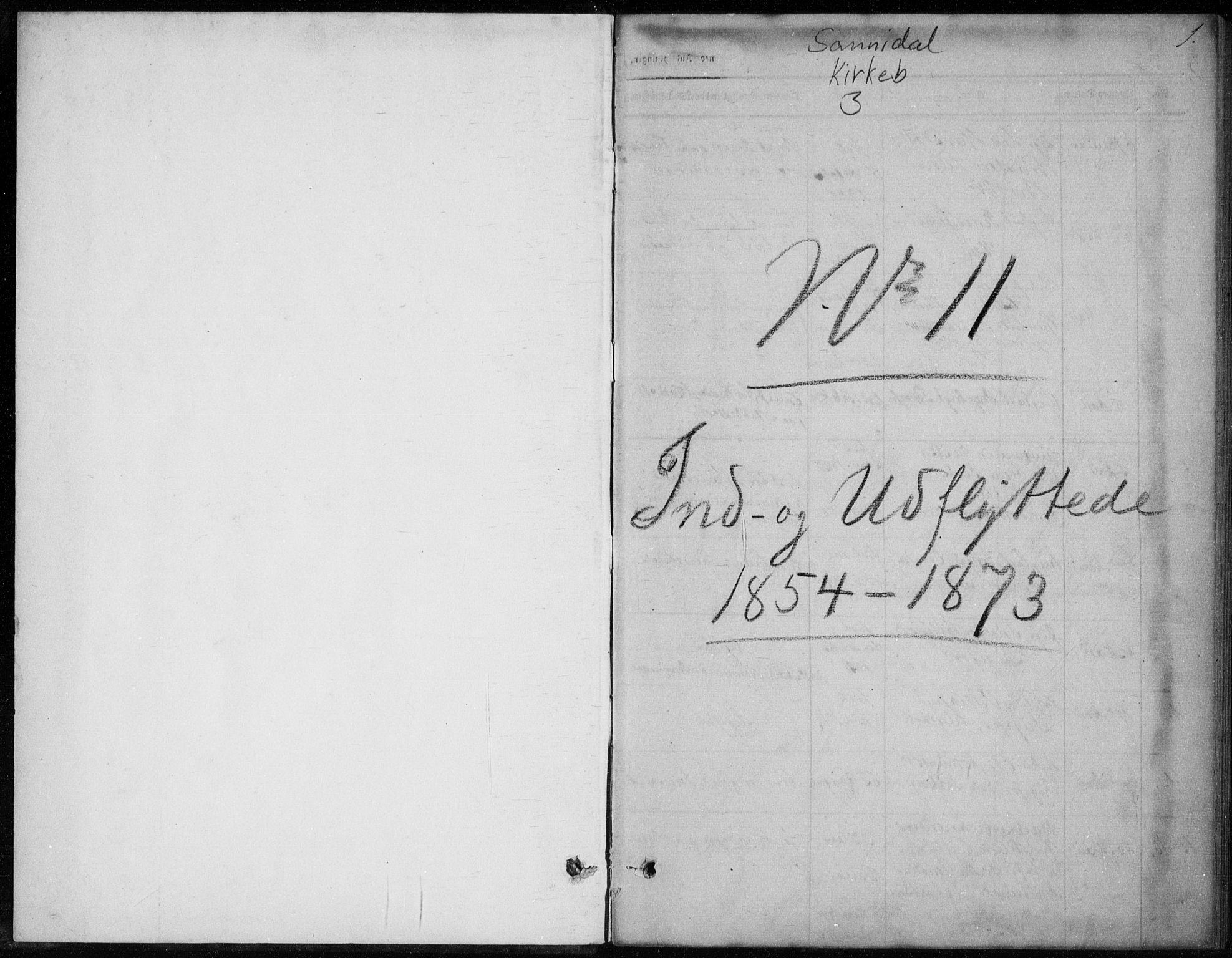 SAKO, Sannidal kirkebøker, F/Fa/L0013: Ministerialbok nr. 13, 1854-1873, s. 1
