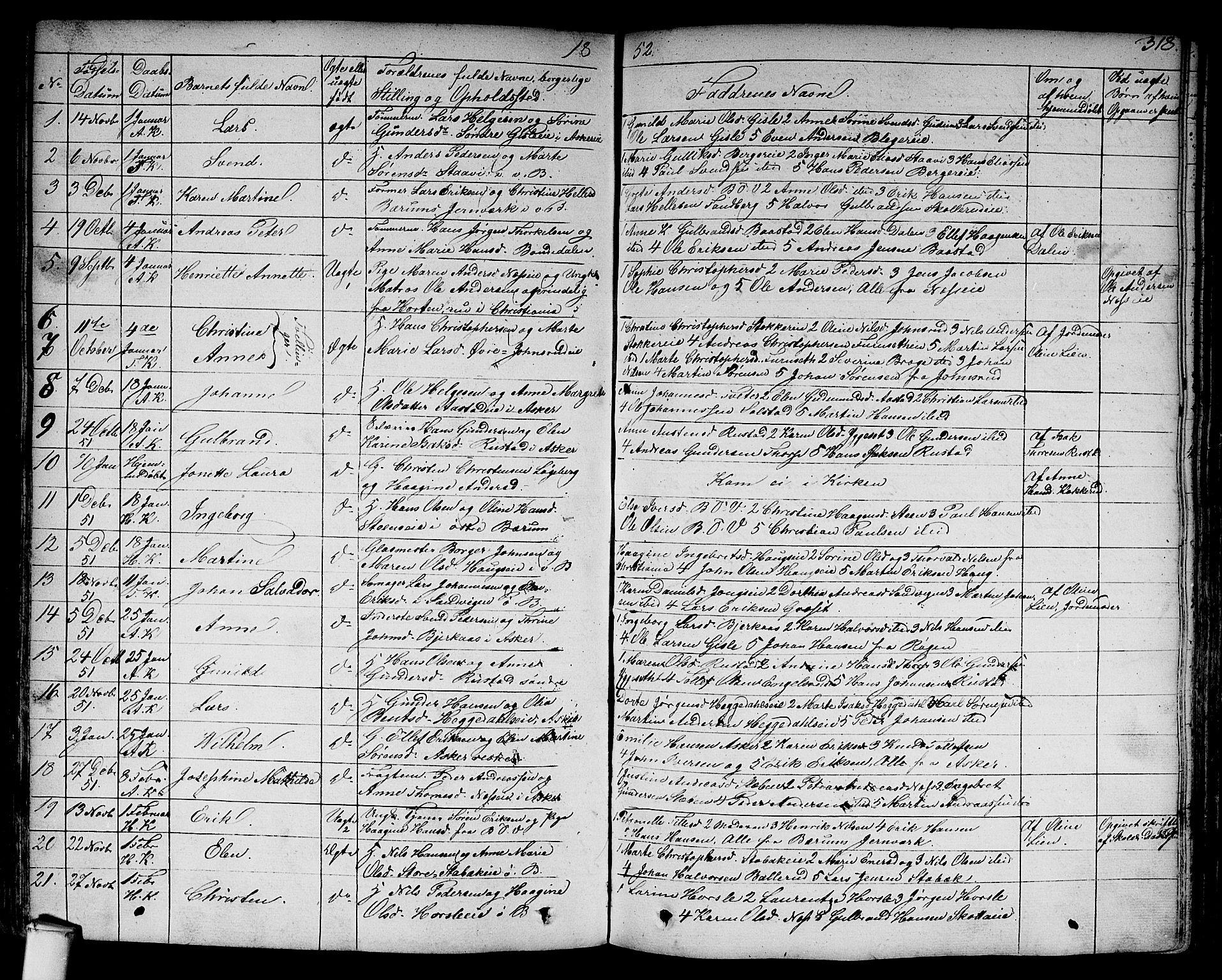 SAO, Asker prestekontor Kirkebøker, F/Fa/L0007: Ministerialbok nr. I 7, 1825-1864, s. 318