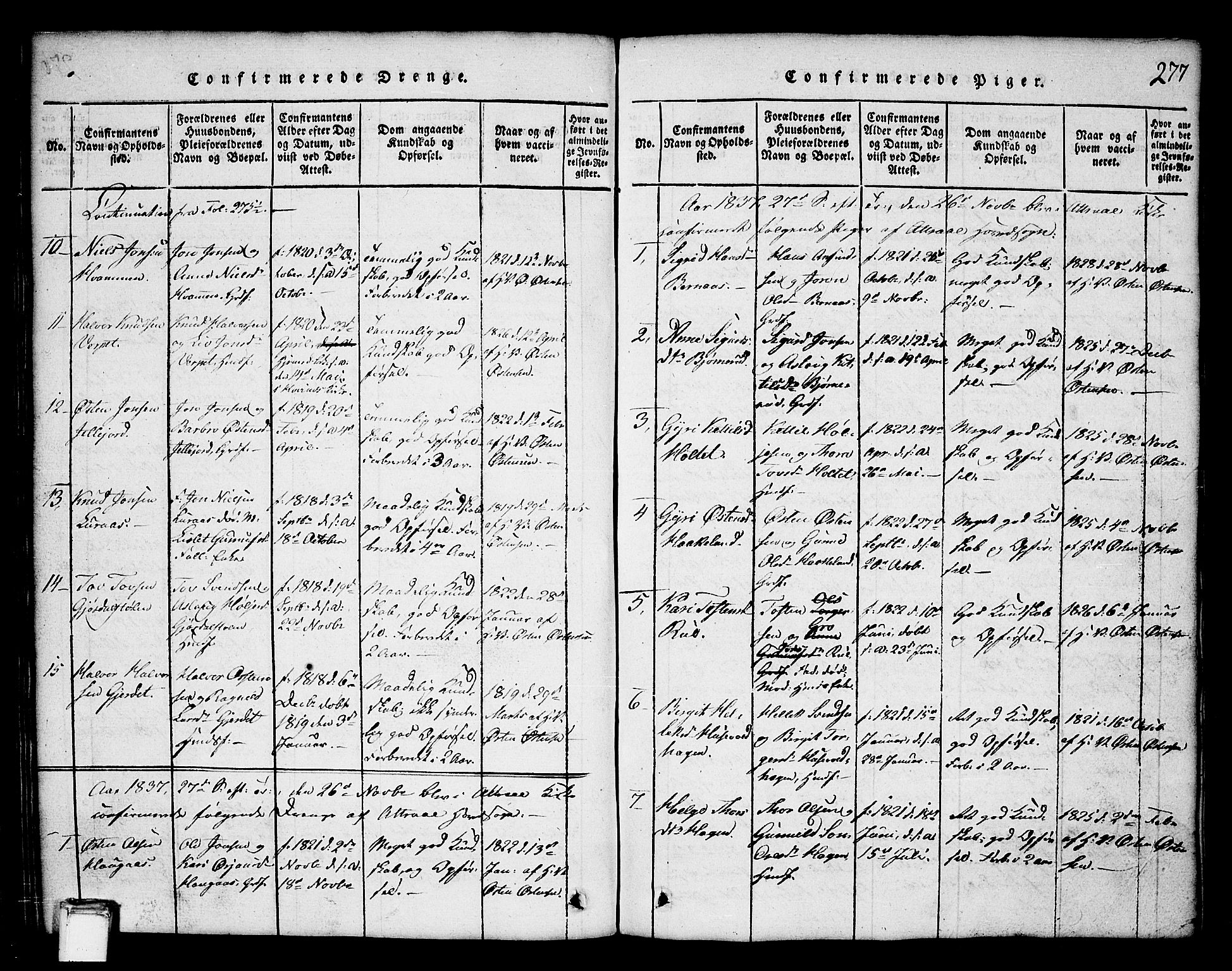 SAKO, Tinn kirkebøker, G/Ga/L0001: Klokkerbok nr. I 1, 1815-1850, s. 277
