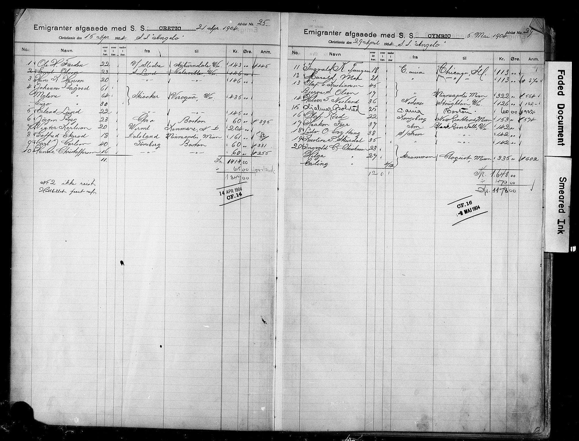 SAO, White Star-linjen, D/Da/L0005: Emigrant, 1904-1923, s. upaginert