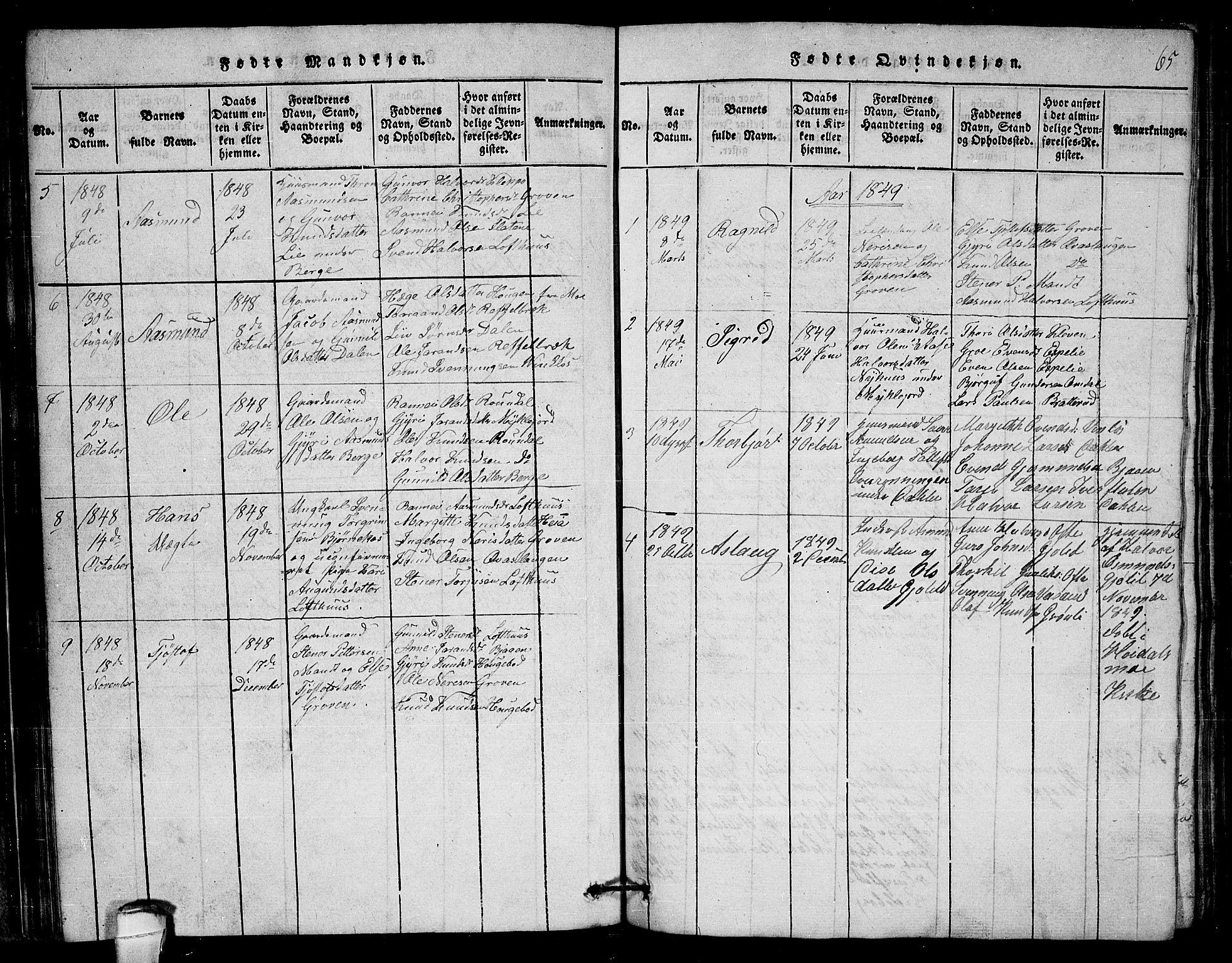SAKO, Lårdal kirkebøker, G/Gb/L0001: Klokkerbok nr. II 1, 1815-1865, s. 65