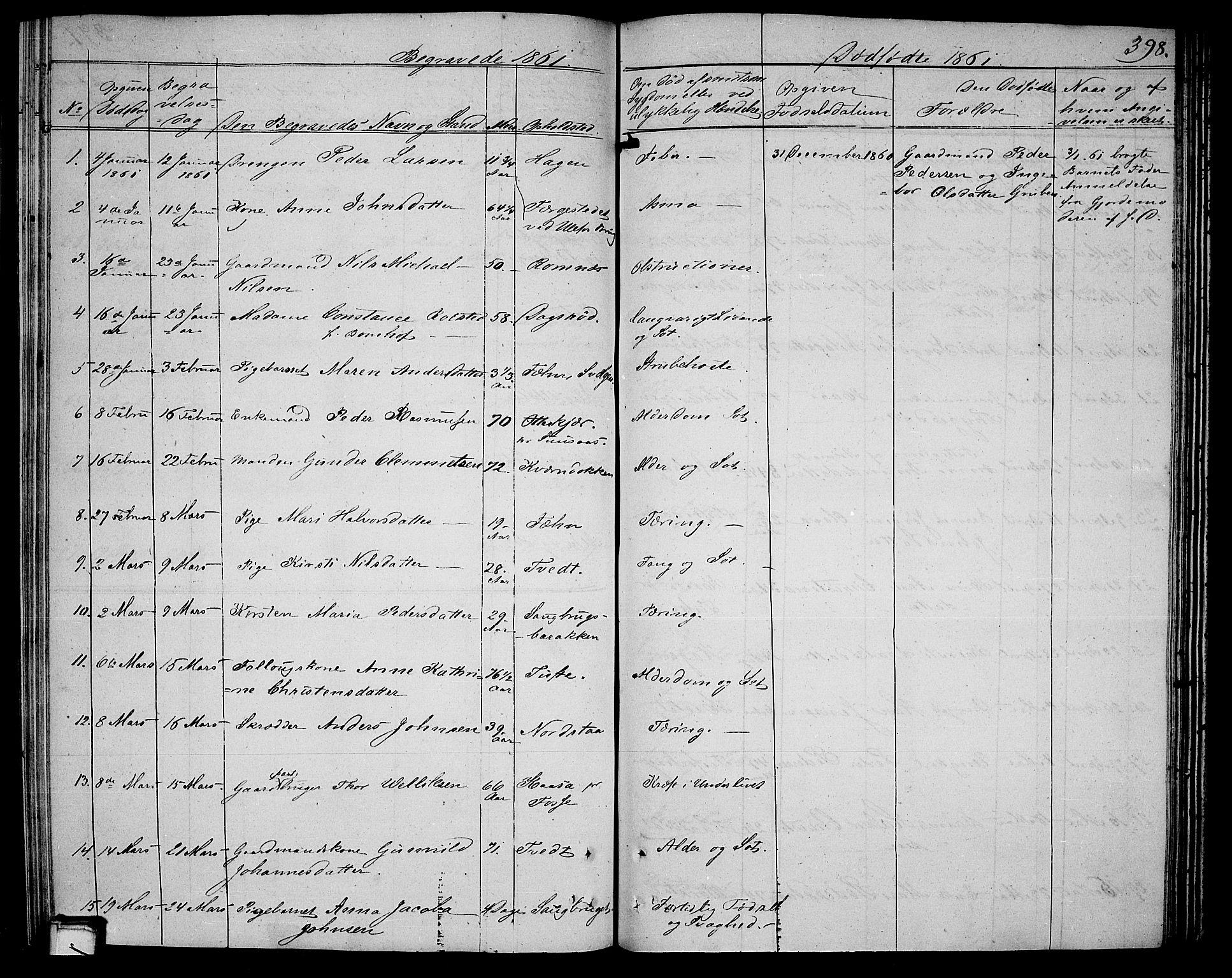 SAKO, Holla kirkebøker, G/Ga/L0003: Klokkerbok nr. I 3, 1849-1866, s. 398