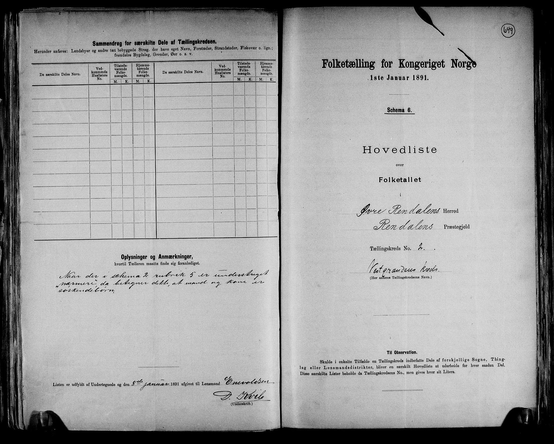 RA, Folketelling 1891 for 0433 Øvre Rendal herred, 1891, s. 5