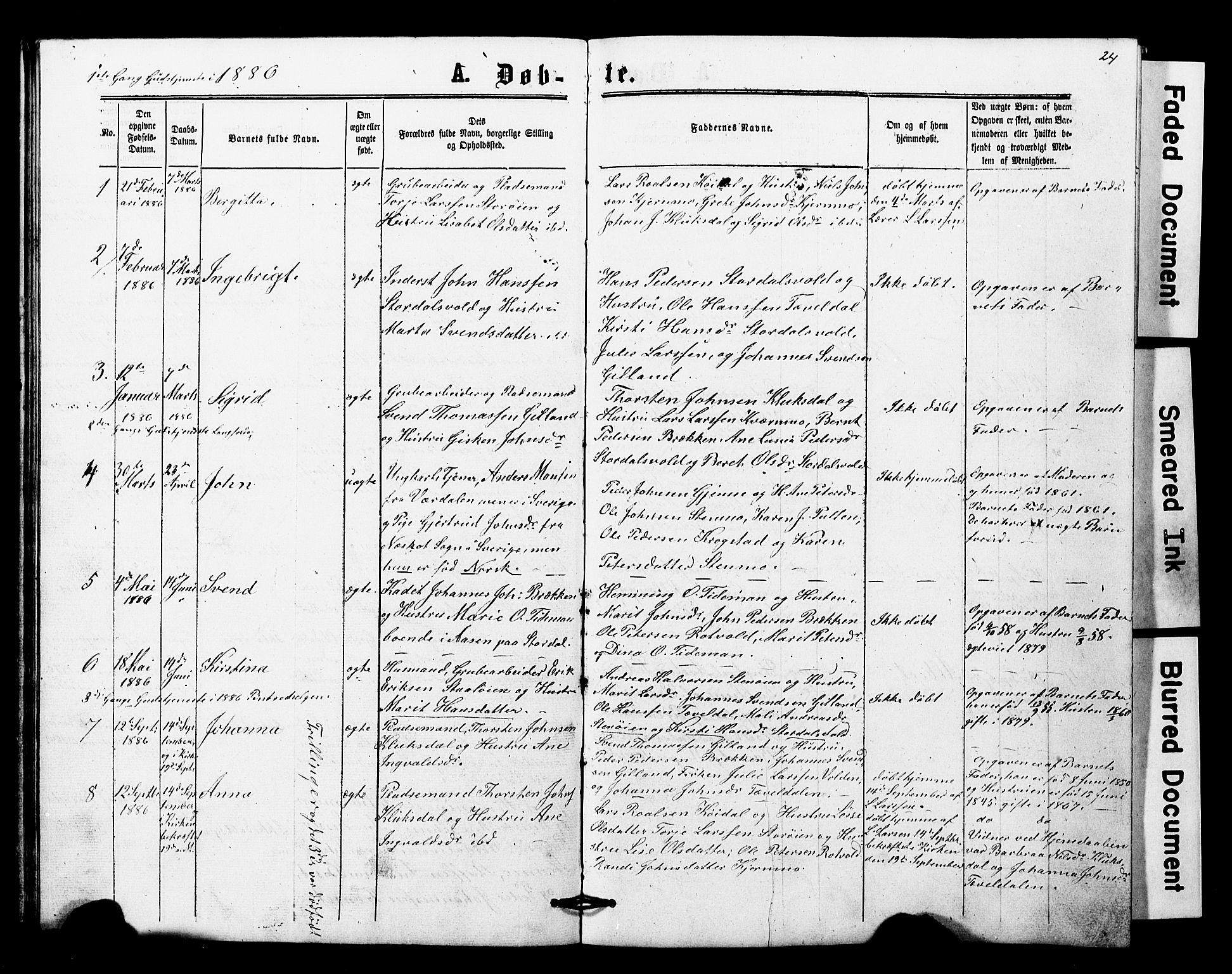 SAT, Ministerialprotokoller, klokkerbøker og fødselsregistre - Nord-Trøndelag, 707/L0052: Klokkerbok nr. 707C01, 1864-1897, s. 24