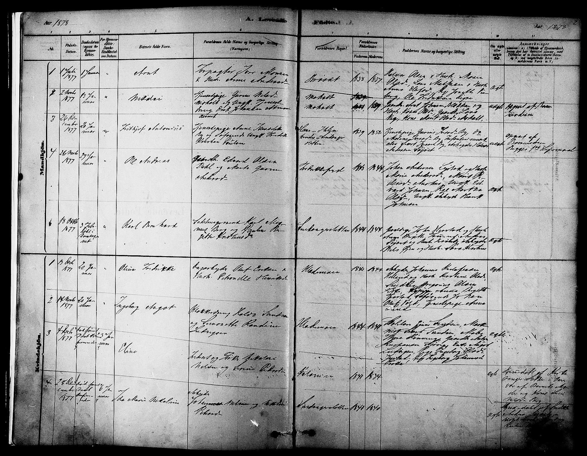 SAT, Ministerialprotokoller, klokkerbøker og fødselsregistre - Sør-Trøndelag, 606/L0294: Ministerialbok nr. 606A09, 1878-1886, s. 2