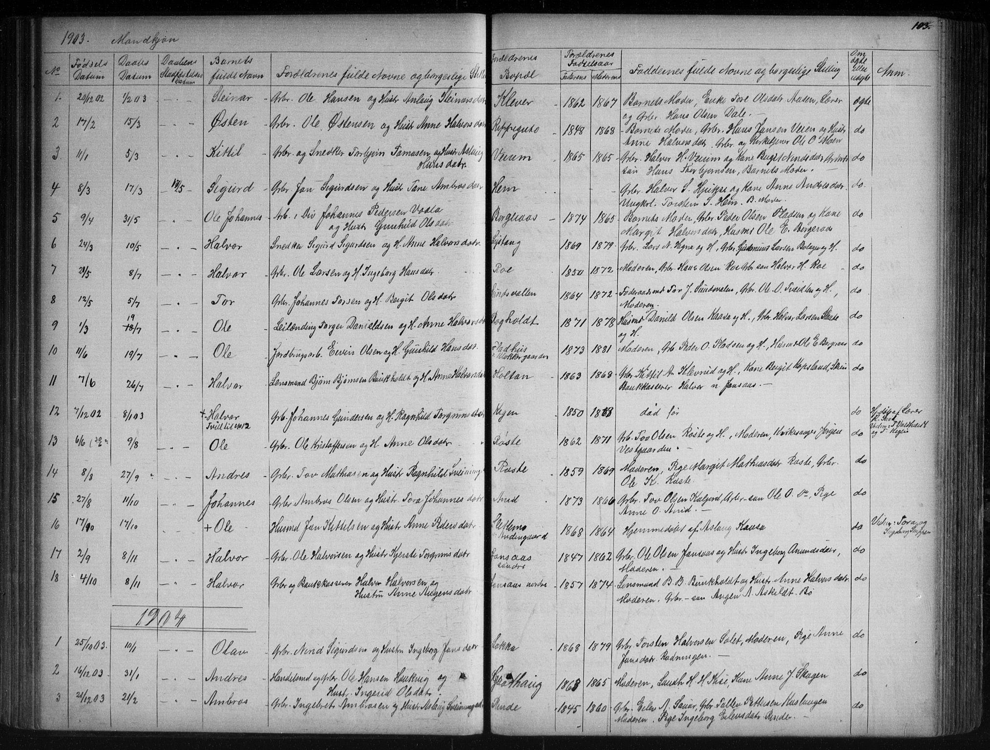 SAKO, Sauherad kirkebøker, G/Ga/L0003: Klokkerbok nr. I 3, 1866-1905, s. 103
