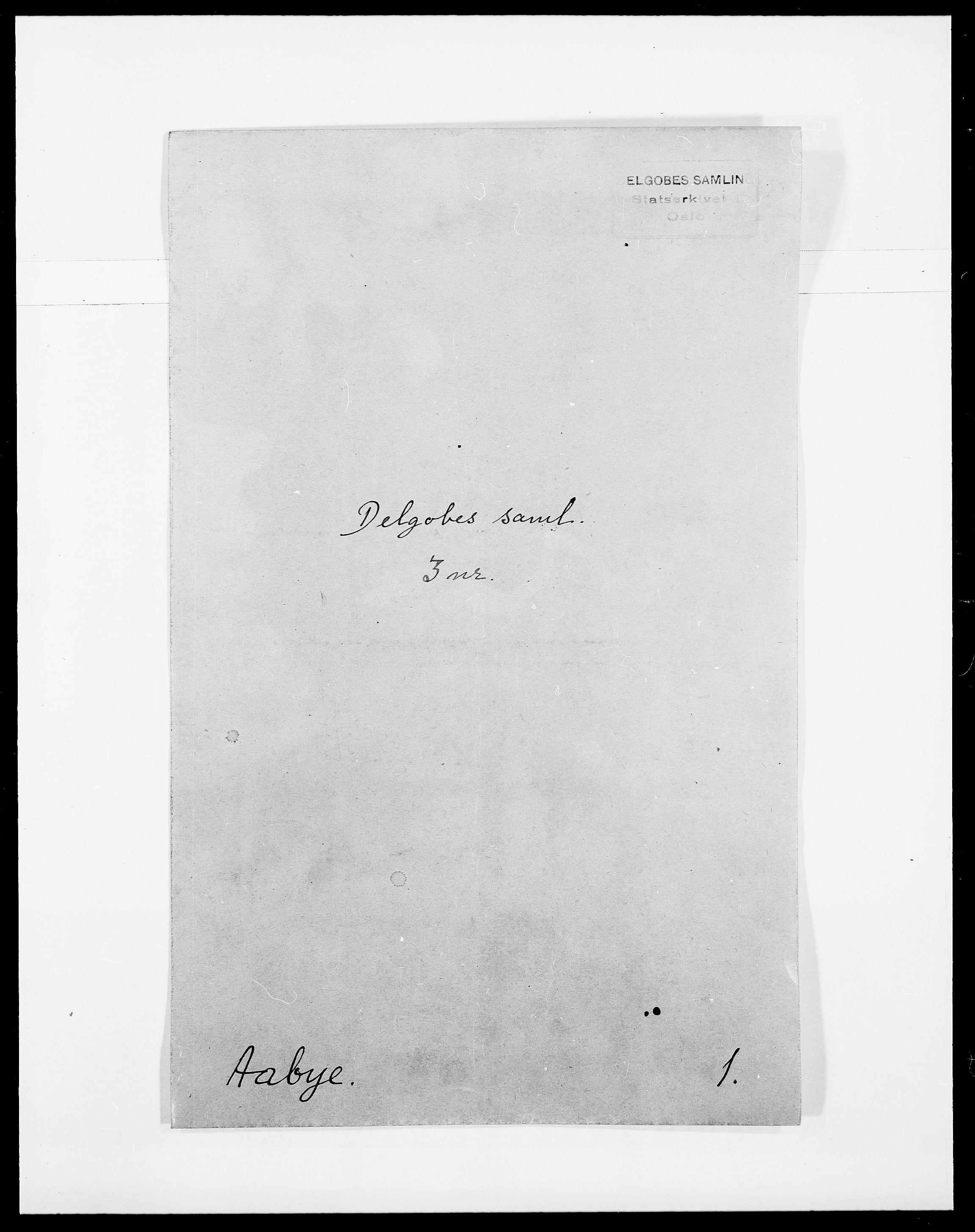 SAO, Delgobe, Charles Antoine - samling, D/Da/L0001: Aabye - Angerman, s. 1