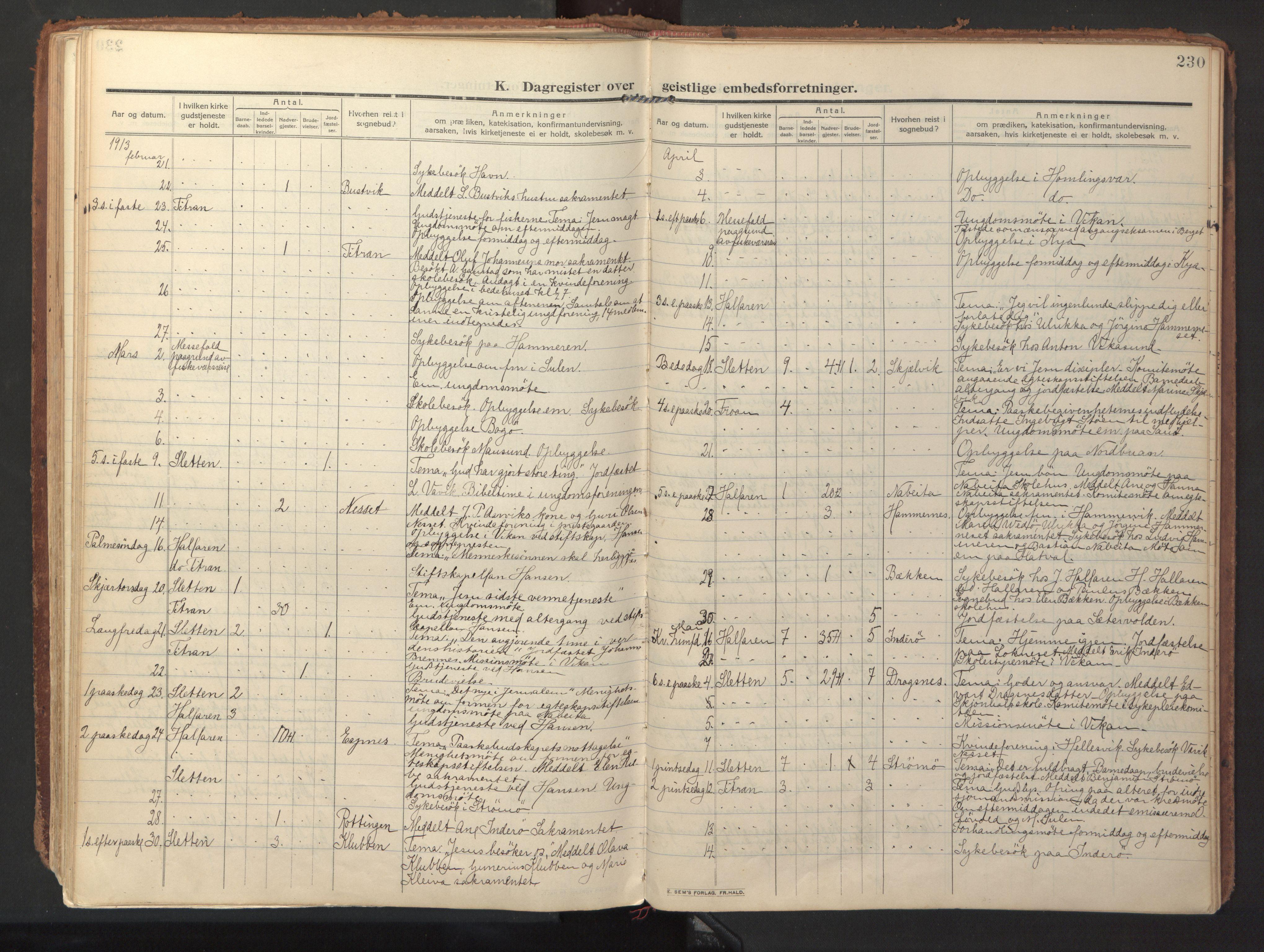 SAT, Ministerialprotokoller, klokkerbøker og fødselsregistre - Sør-Trøndelag, 640/L0581: Ministerialbok nr. 640A06, 1910-1924, s. 230