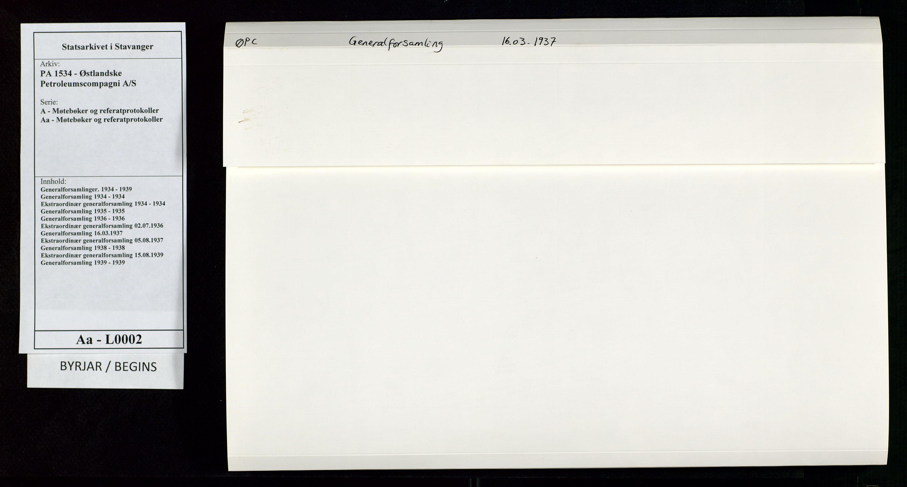 SAST, PA 1534 - Østlandske Petroleumscompagni A/S, A/Aa/L0002: Generalforsamlinger., 1937, s. 1