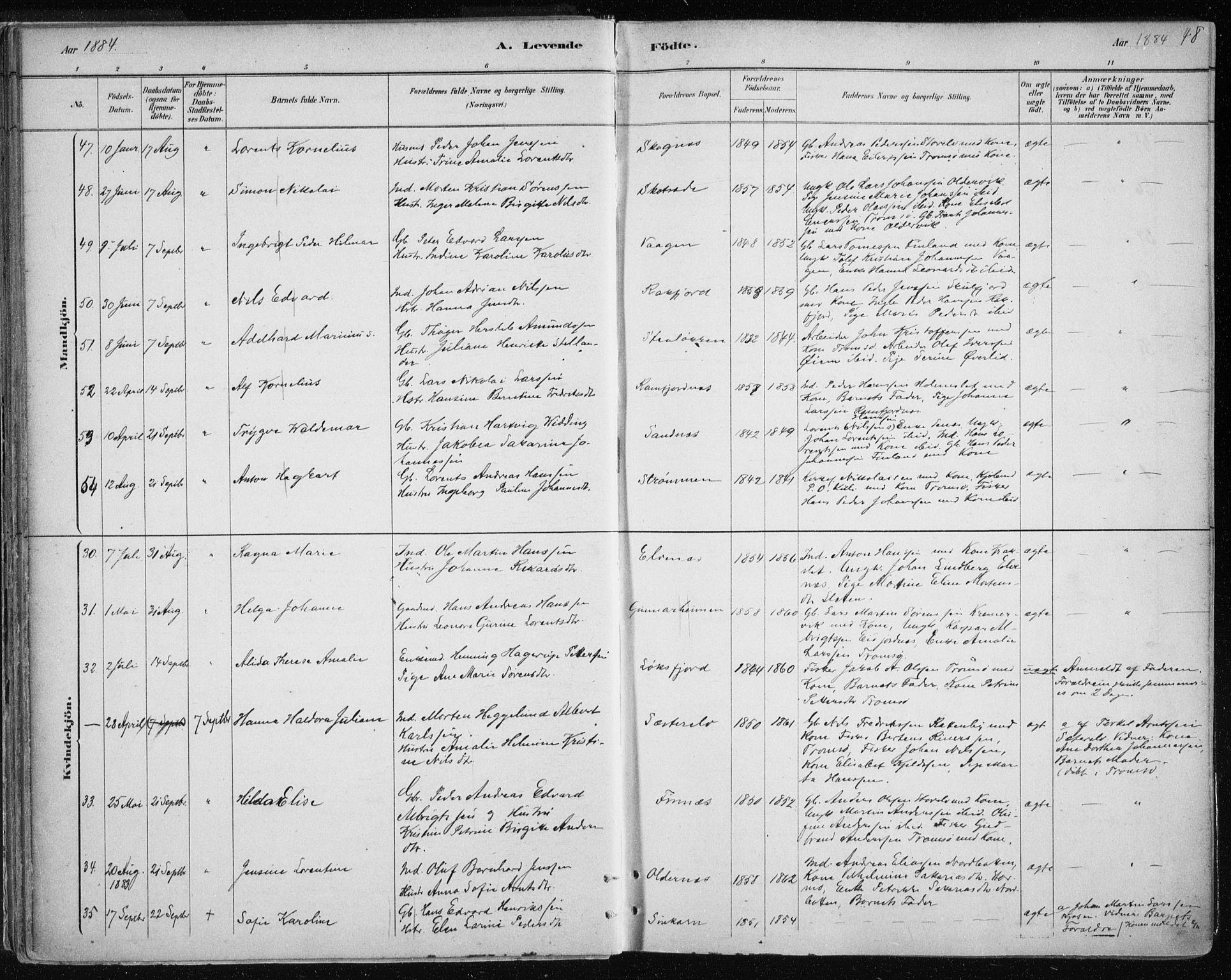 SATØ, Tromsøysund sokneprestkontor, G/Ga/L0004kirke: Ministerialbok nr. 4, 1880-1888, s. 48