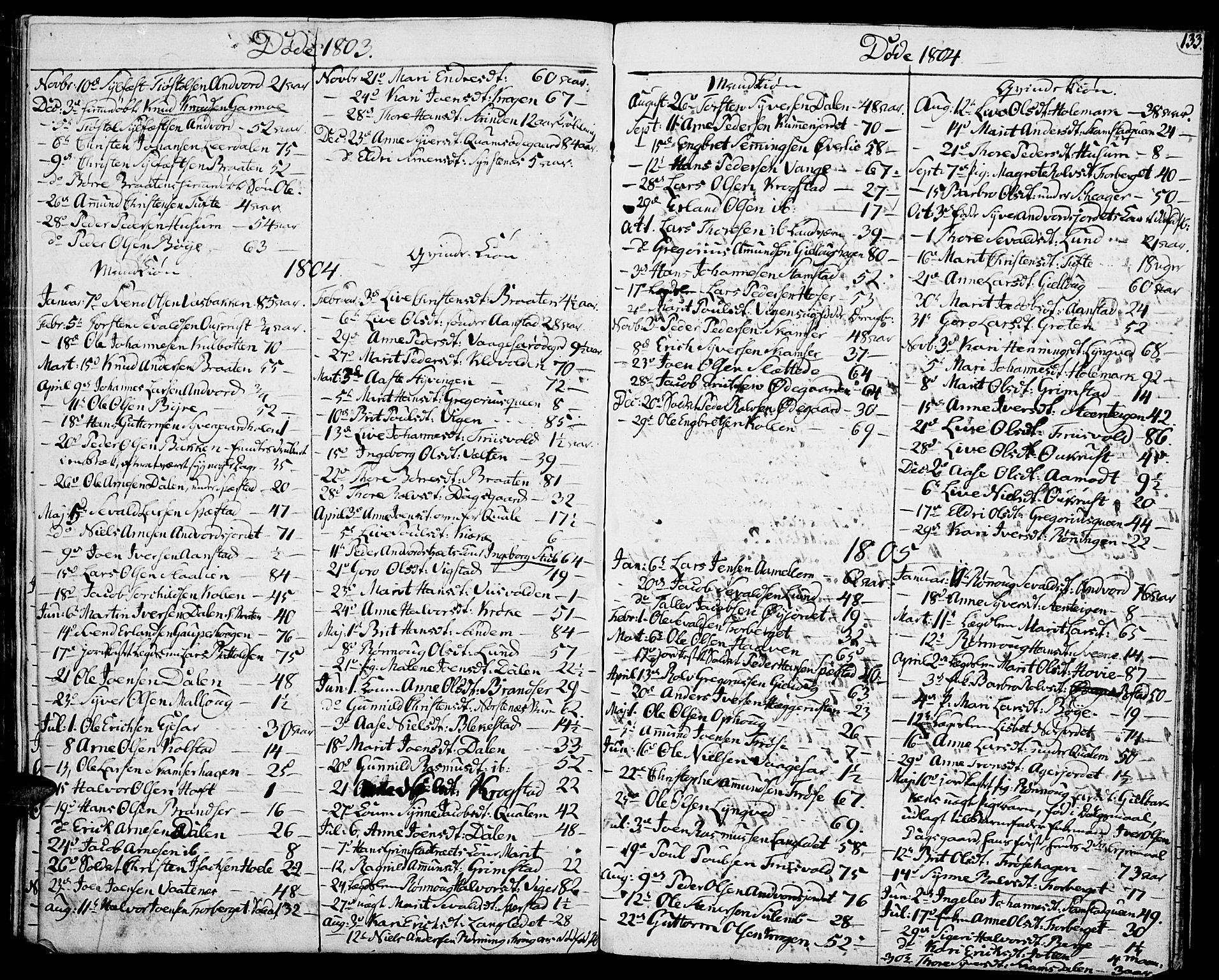 SAH, Lom prestekontor, K/L0003: Ministerialbok nr. 3, 1801-1825, s. 133