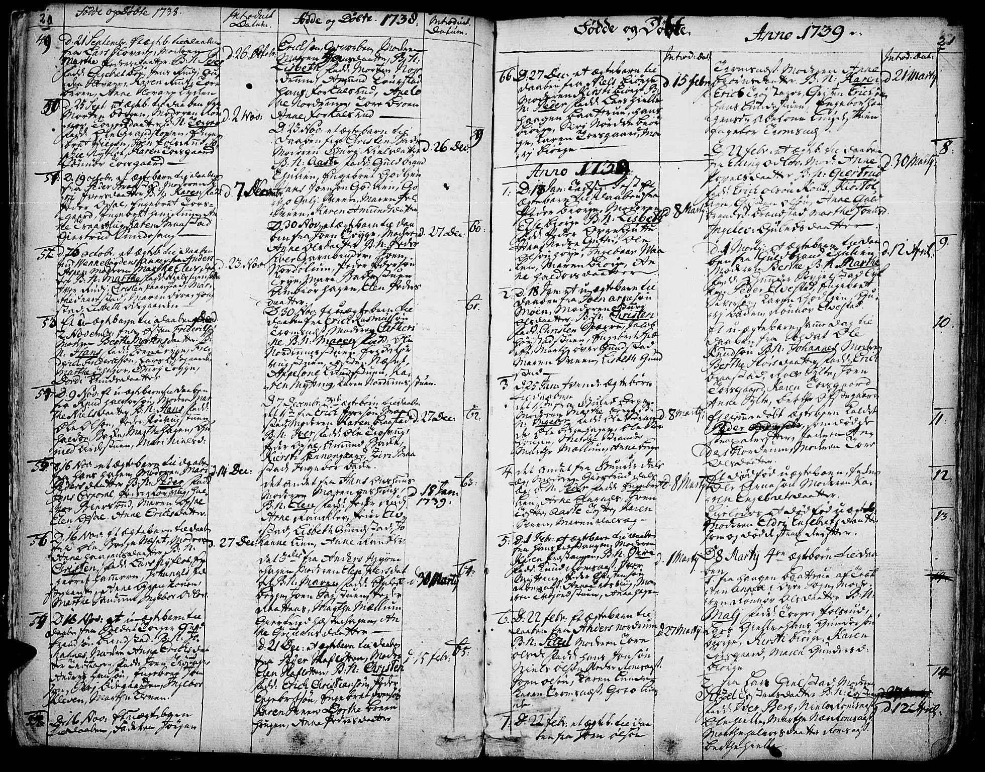 SAH, Ringebu prestekontor, Ministerialbok nr. 2, 1734-1780, s. 20-21
