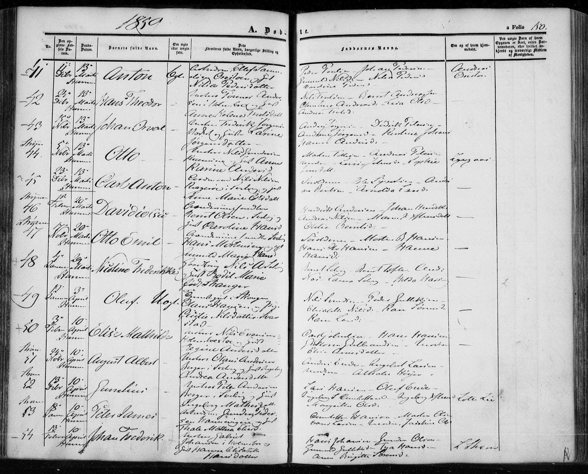 SAKO, Hurum kirkebøker, F/Fa/L0011: Ministerialbok nr. 11, 1847-1860, s. 150