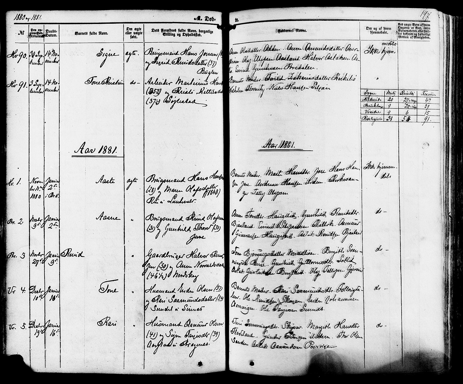SAKO, Kviteseid kirkebøker, F/Fa/L0007: Ministerialbok nr. I 7, 1859-1881, s. 197